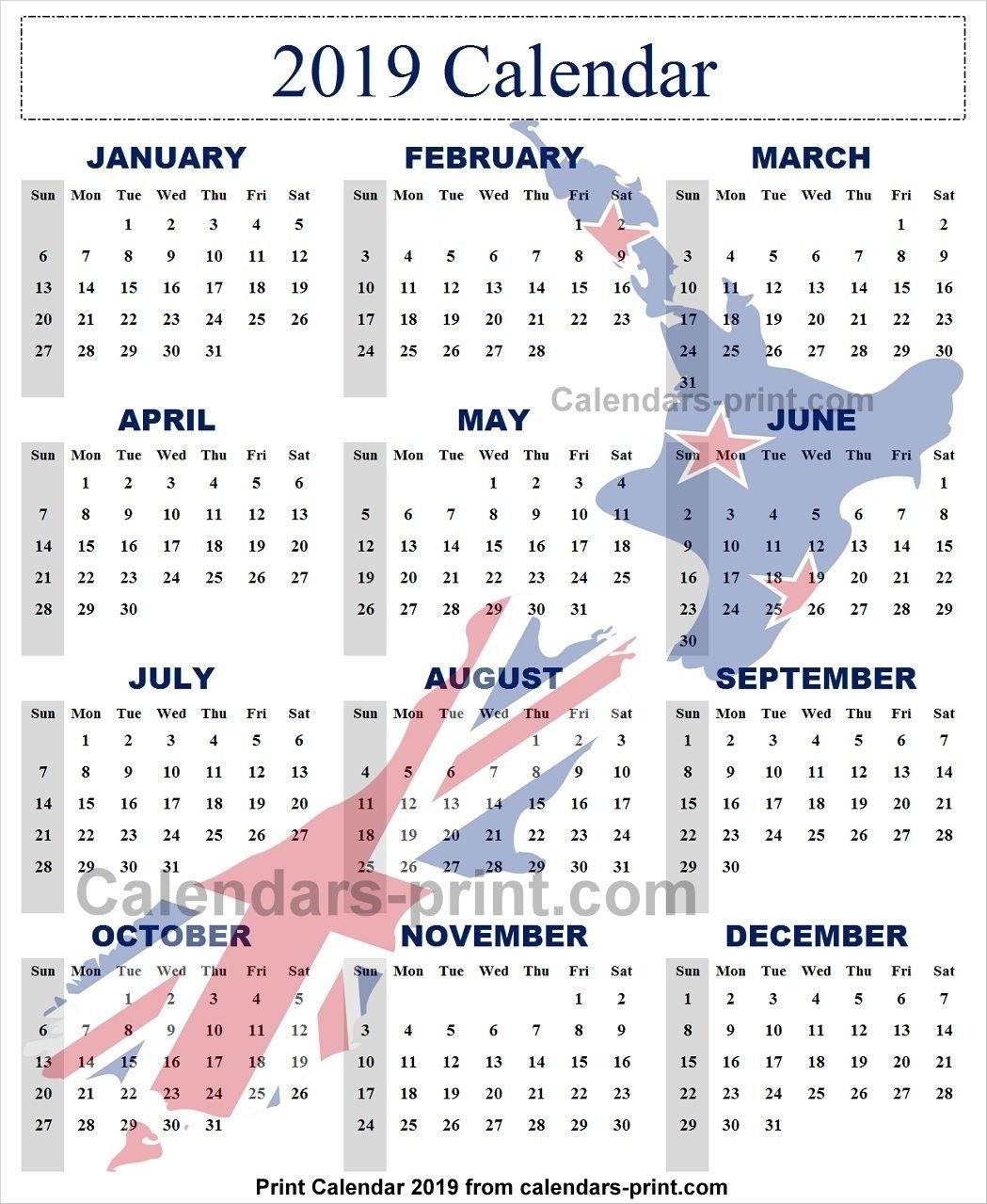 2019 Year Calendar Nz | 2019 Yearly Calendar | Pinterest | Calendar 2019 Calendar Nz