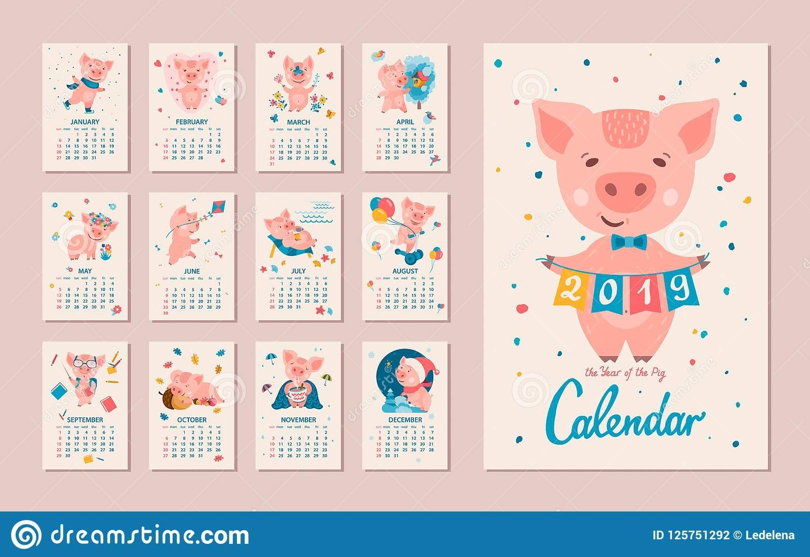 2019 Year Of The Pig Calendar Stock Vector - Illustration Of 2019 Calendar 2019 Year Of The Pig