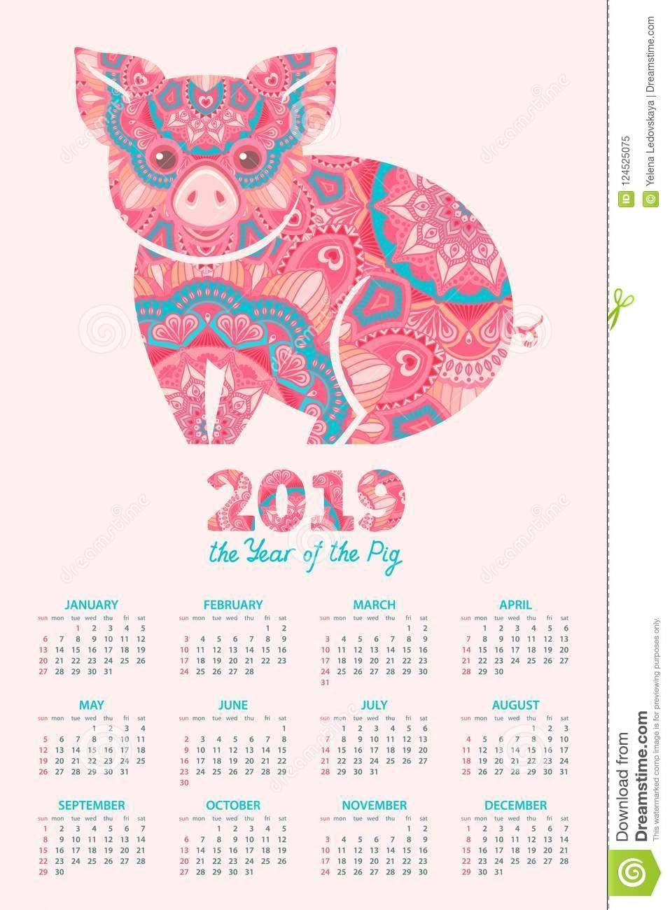 2019 Year Of The Pig Calendar Stock Vector - Illustration Of Planner Calendar 2019 Year Of The Pig