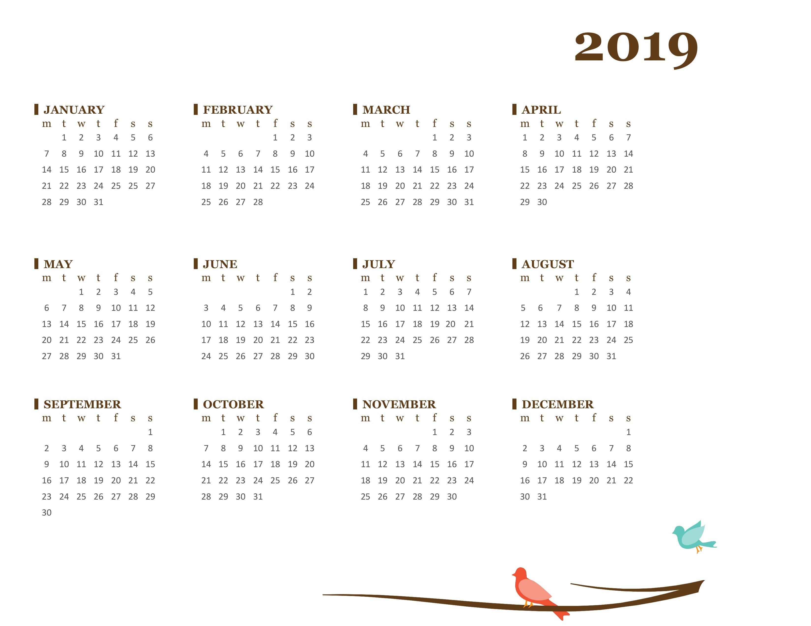 2019 Yearly Calendar (Mon-Sun) 1 Year Calendar 2019