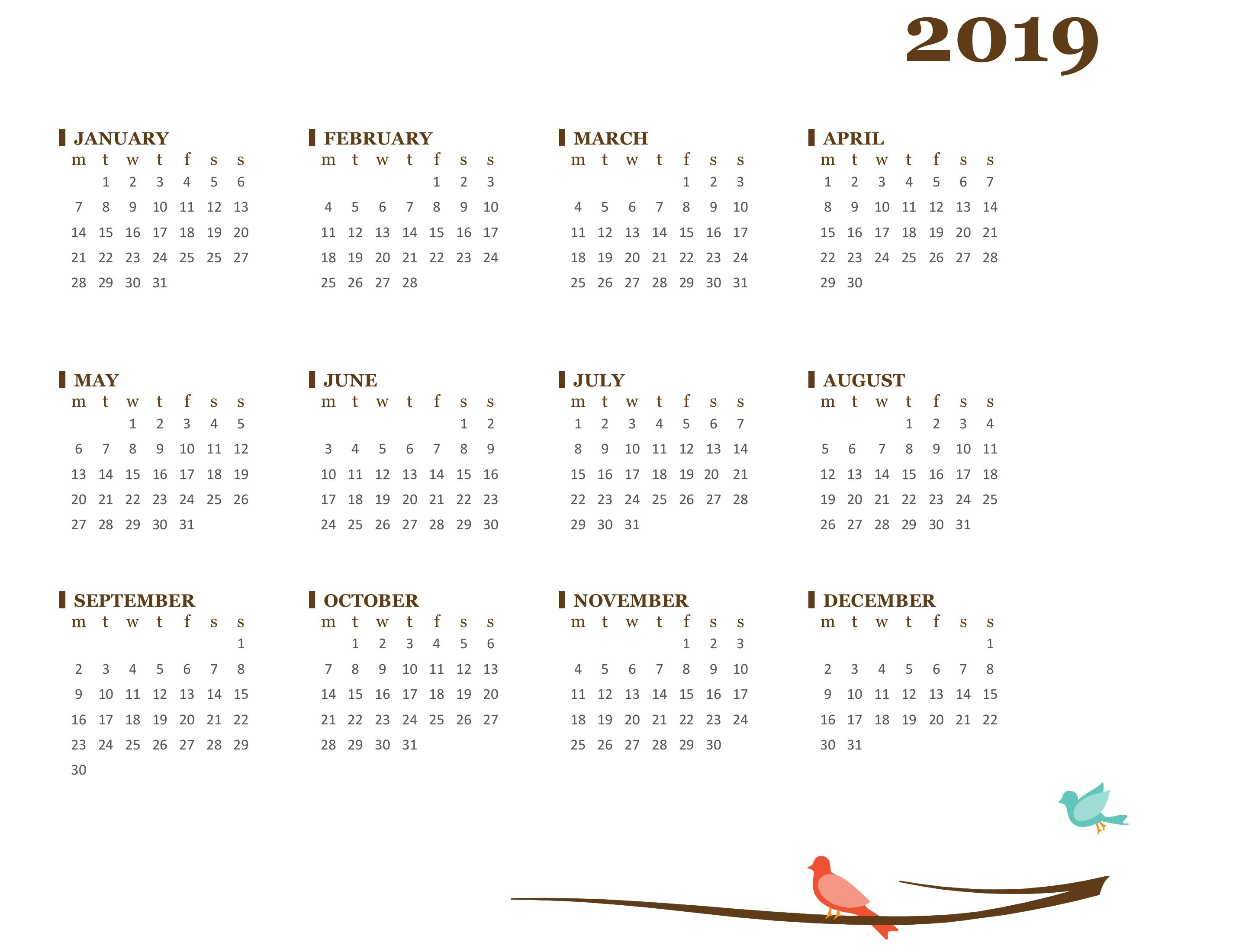 2019 Yearly Calendar (Mon-Sun) Calendar 2019 Picture