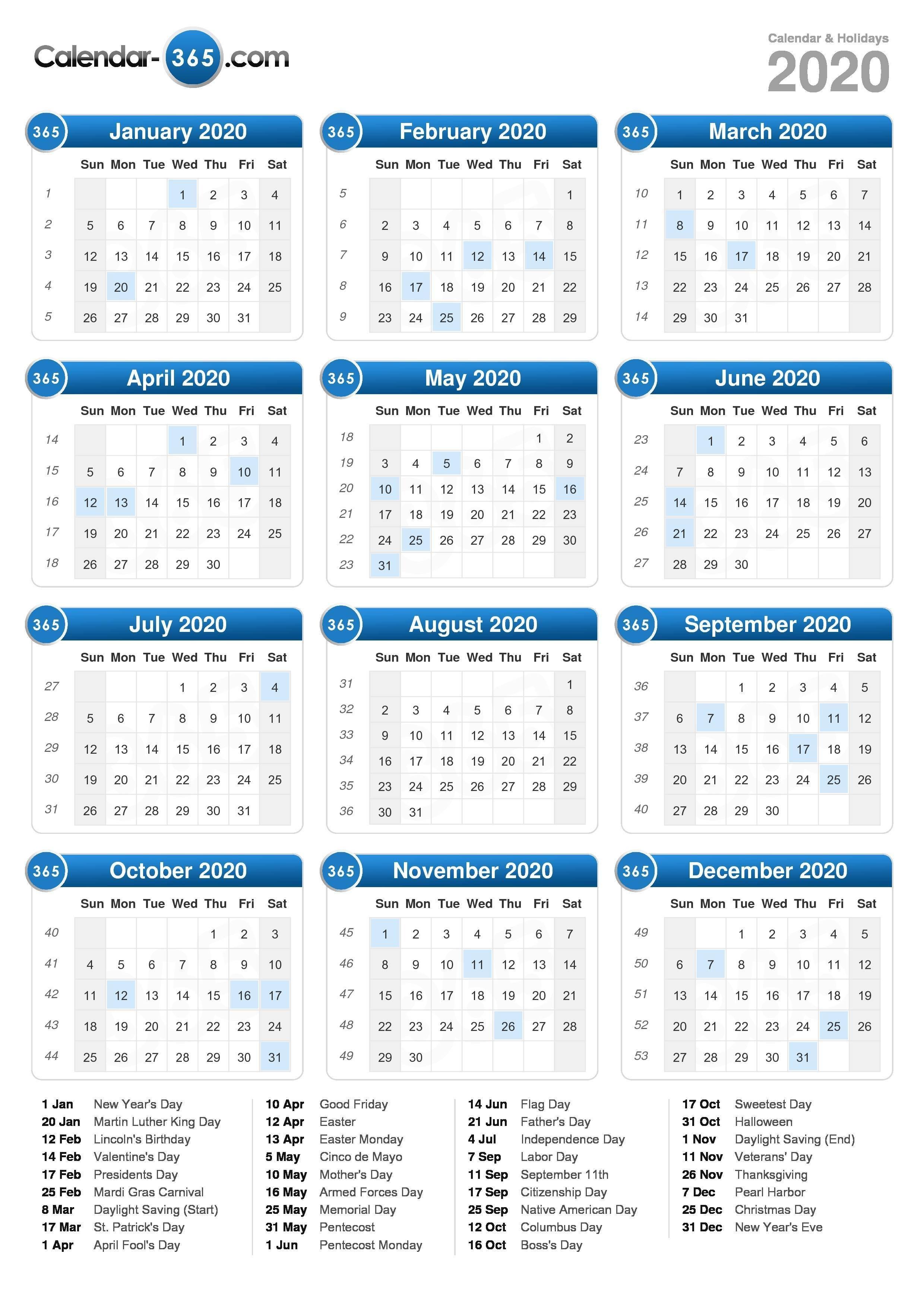 2020 Calendar 4-5-4 Calendar 2019