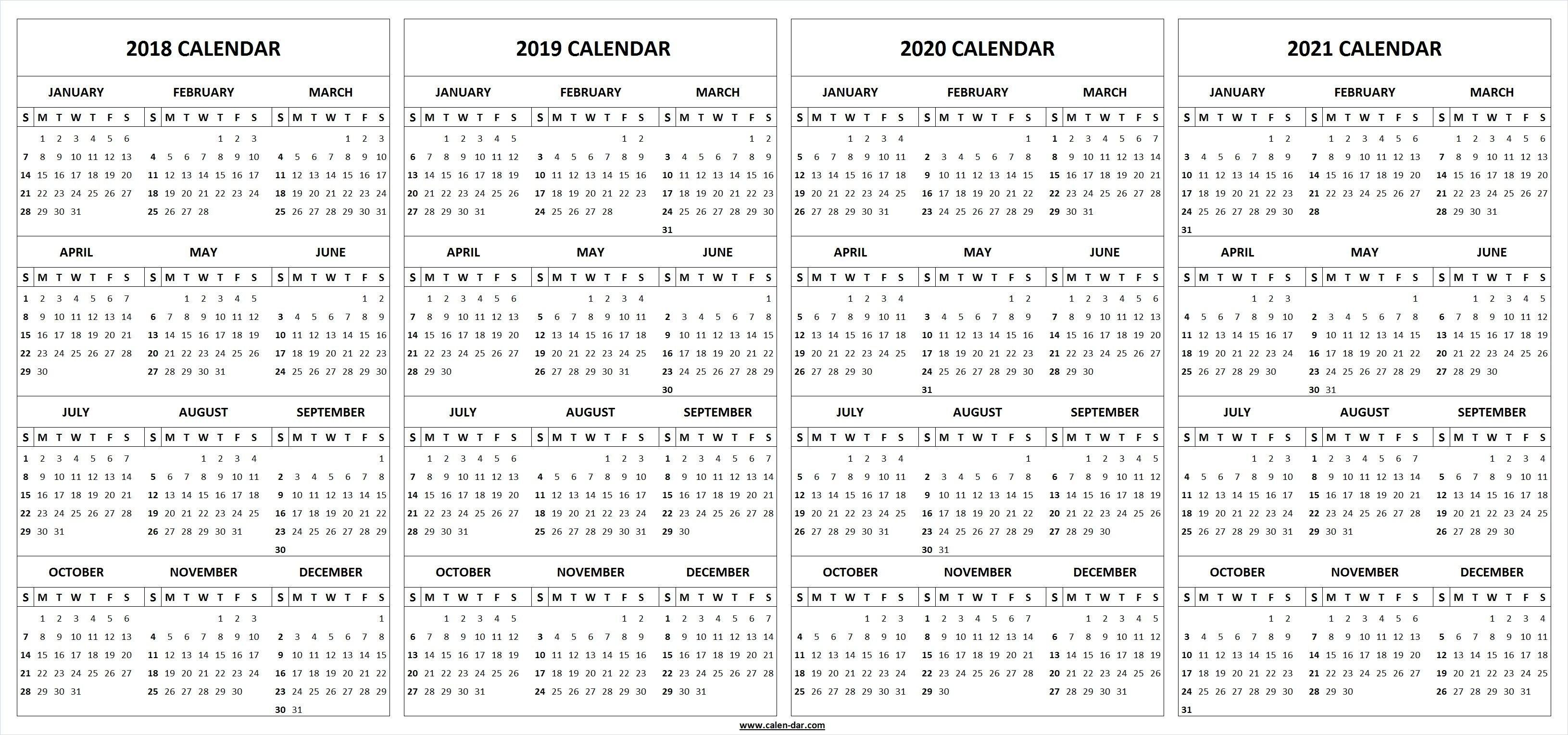 4 Four Year 2018 2019 2020 2021 Calendar Printable Template 4 Year Calendar 2019 To 2022 Printable