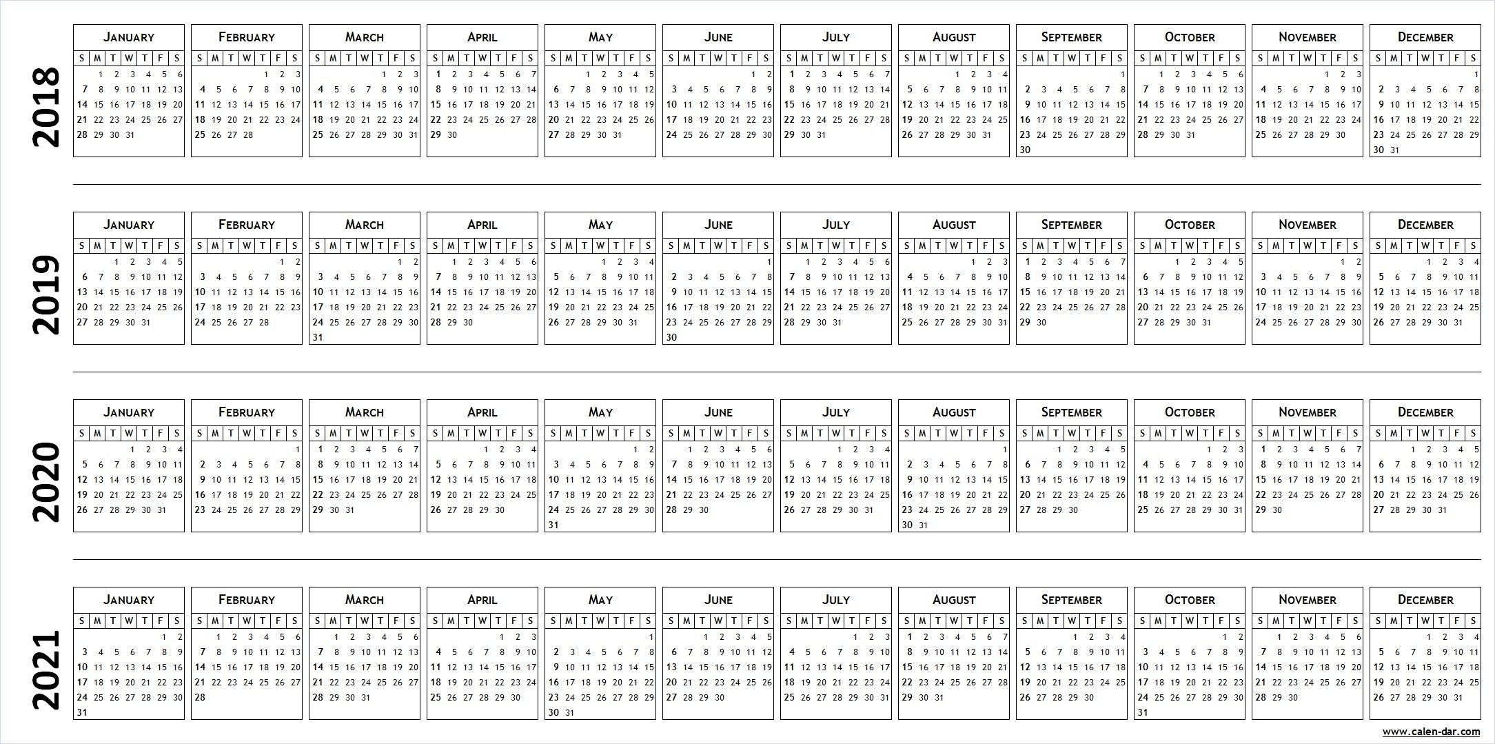 4-Four Year Blank Calendar 2018 2019 2020 2021 | Calendar 4 Year Calendar 2019 To 2022 Printable