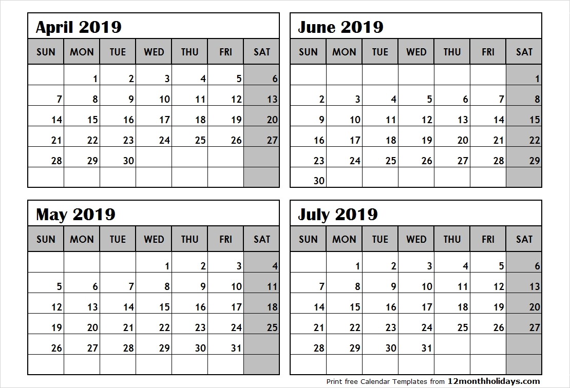 4-Month-Calendar-April-To-July-2019 - All 12 Month Calendar Printable 4 Month Calendar 2019