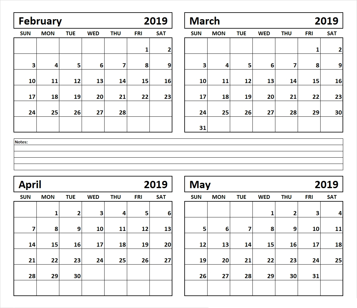 4 Month February March April May 2019 Calendar #march #april #may 4 Month Calendar 2019