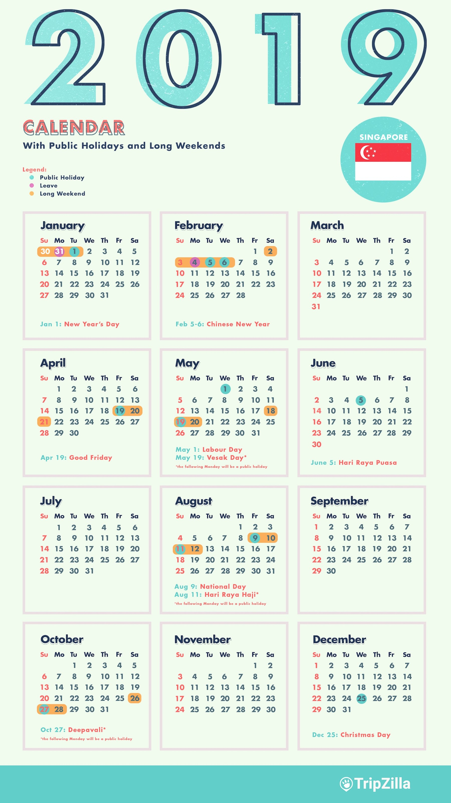 6 Long Weekends In Singapore In 2019 (Bonus Calendar & Cheatsheet) Calendar 2019 Leave