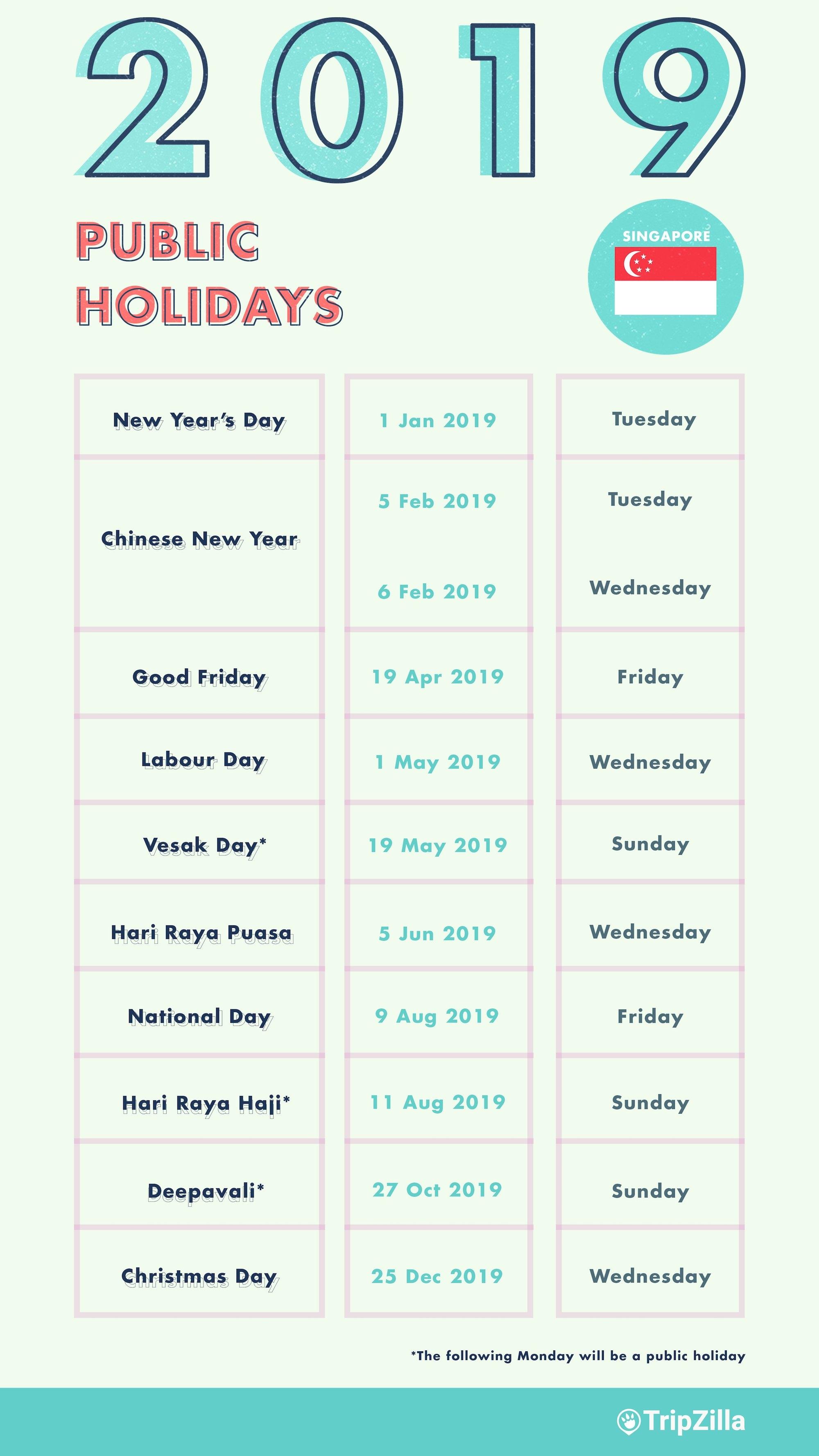6 Long Weekends In Singapore In 2019 (Bonus Calendar & Cheatsheet) Calendar 2019 Of Holidays