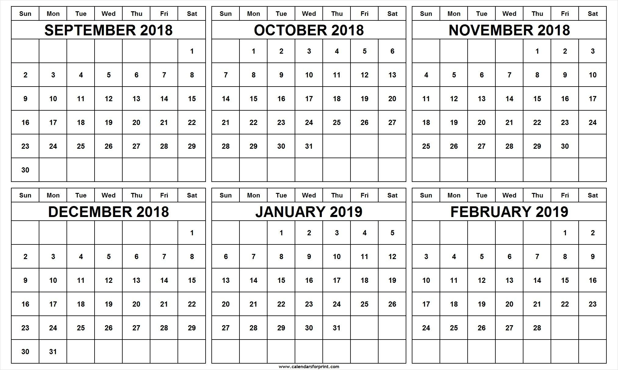 6 Month Calendar September October November December 2018 January Feb 6 2019 Calendar