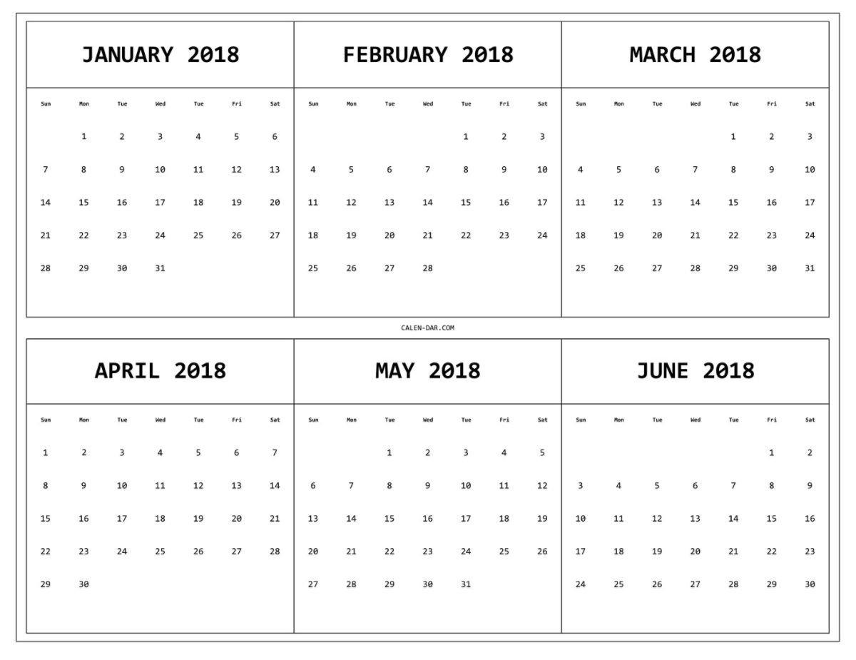 6 Month One Page Printable Calendar 2018   Maxcalendars   Pinterest 6 Month Calendar Template 2019