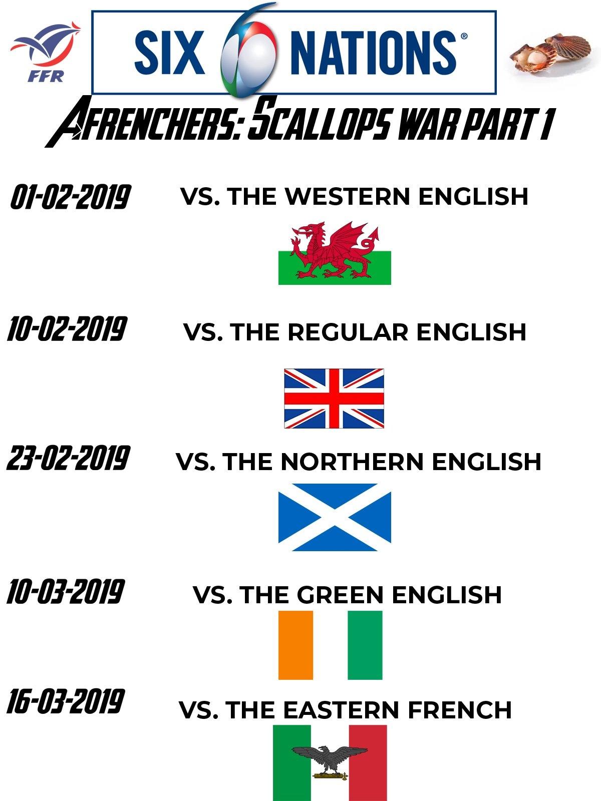 6 Nations Fixtures Calendar For France : Rugbyunion 6 Nations Calendar 2019
