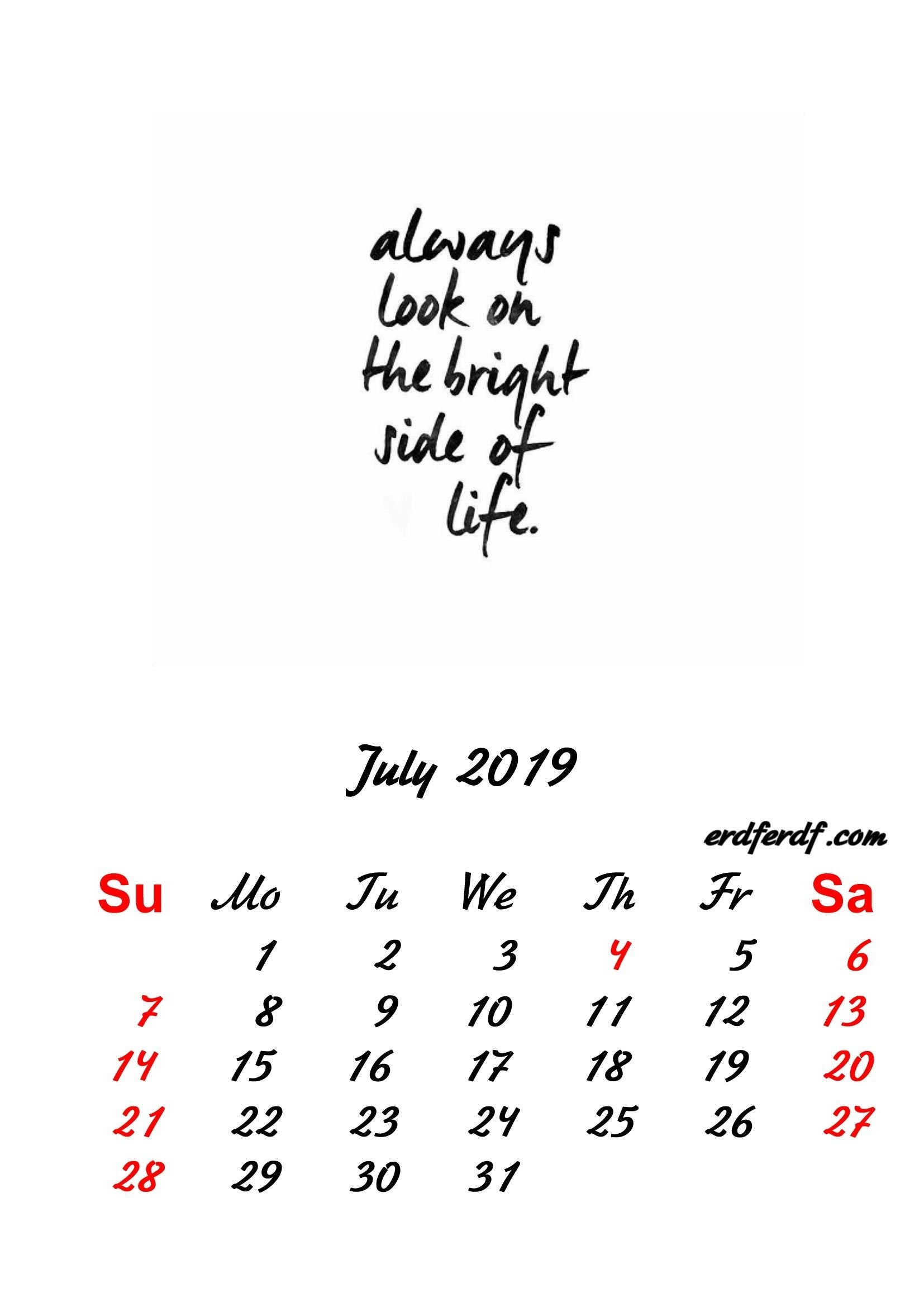 7 July 2019 Inspirational Quotes Pprintable Calendar | Monthly July 7 2019 Calendar
