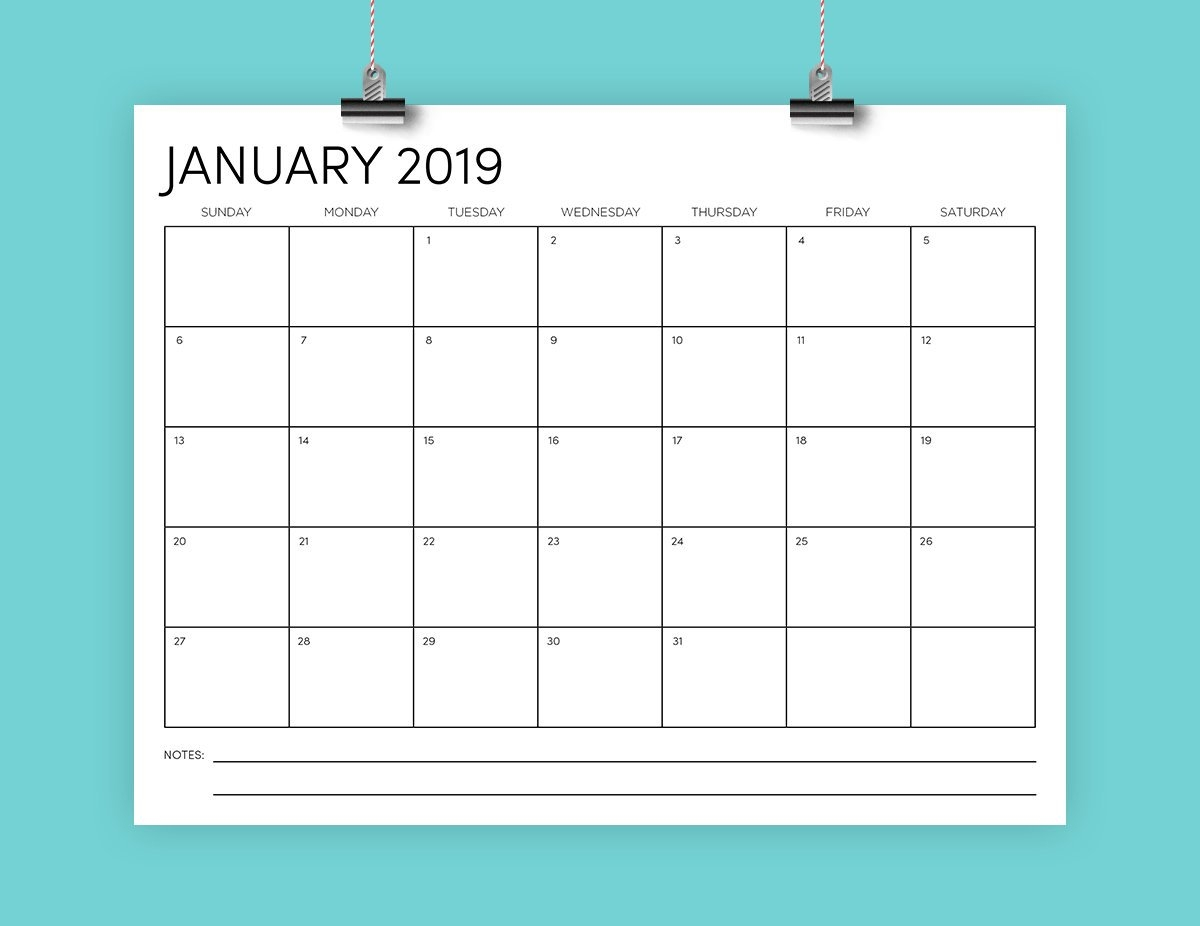 8.5 X 11 Inch 2019 Calendar Template Instant Download | Etsy 2019 Calendar 8.5 X 11