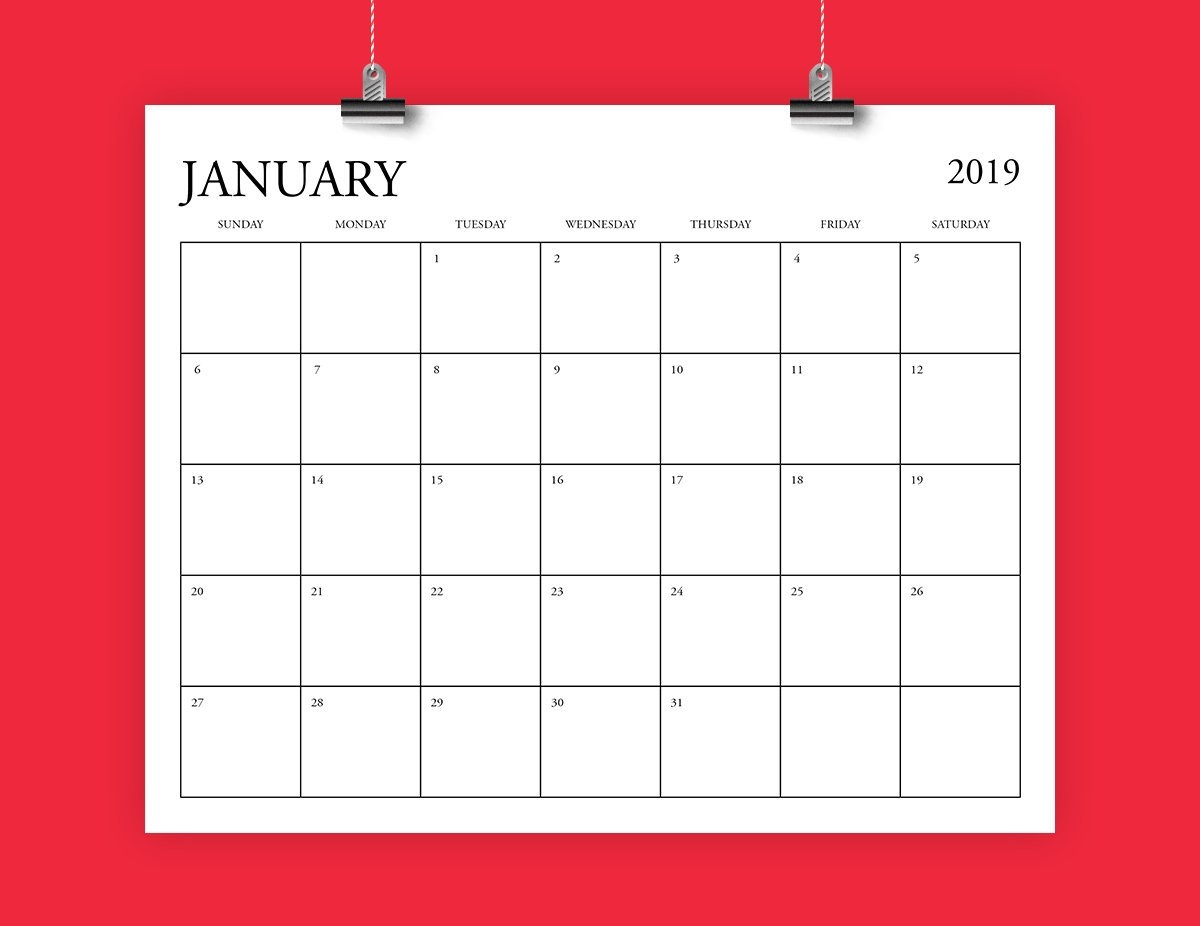8X10 Inch 2019 Calendar Template Fits 8.5 X 11 | Etsy 8 X 10 2019 Calendar