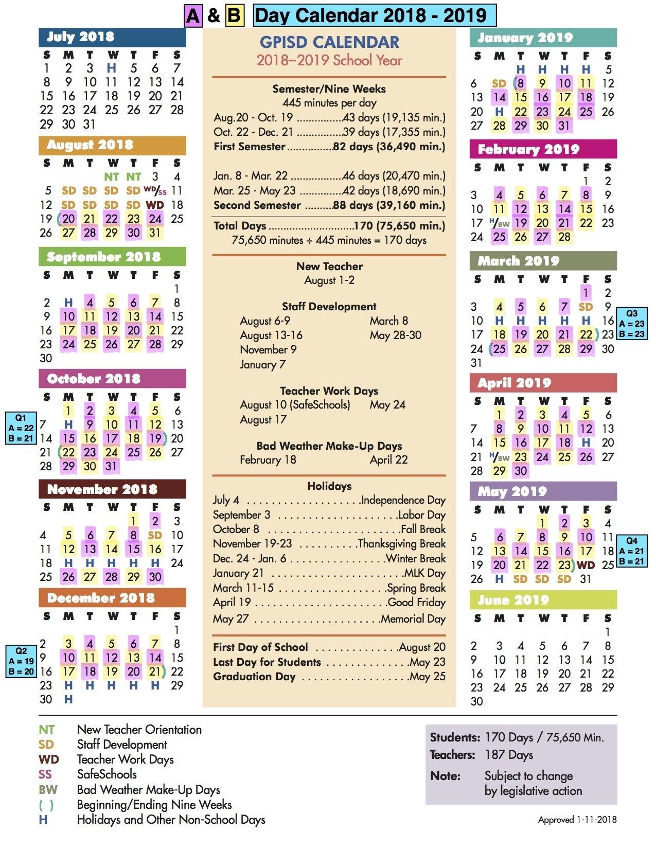 A/b Calendar / A/b Day Calendar Stephen F Austin Calendar 2019