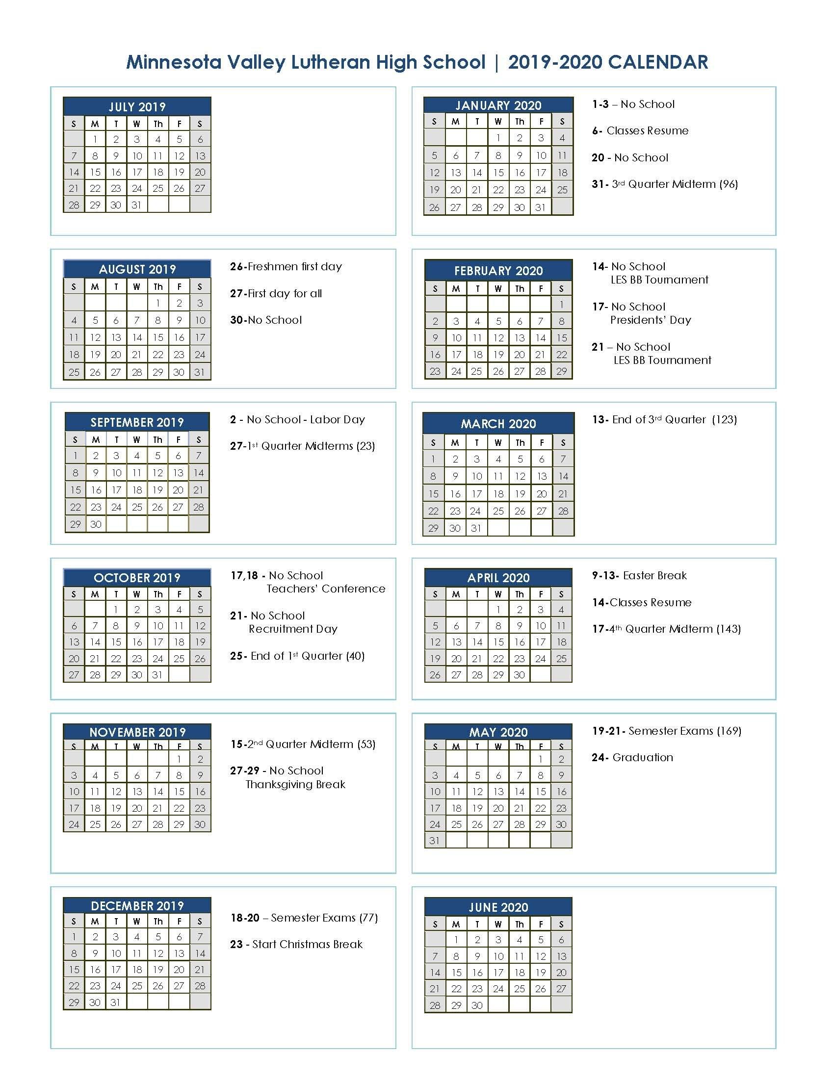 Academic Calendar 2019-2020 | Minnesota Valley Lutheran High School 3 Term Calendar 2019