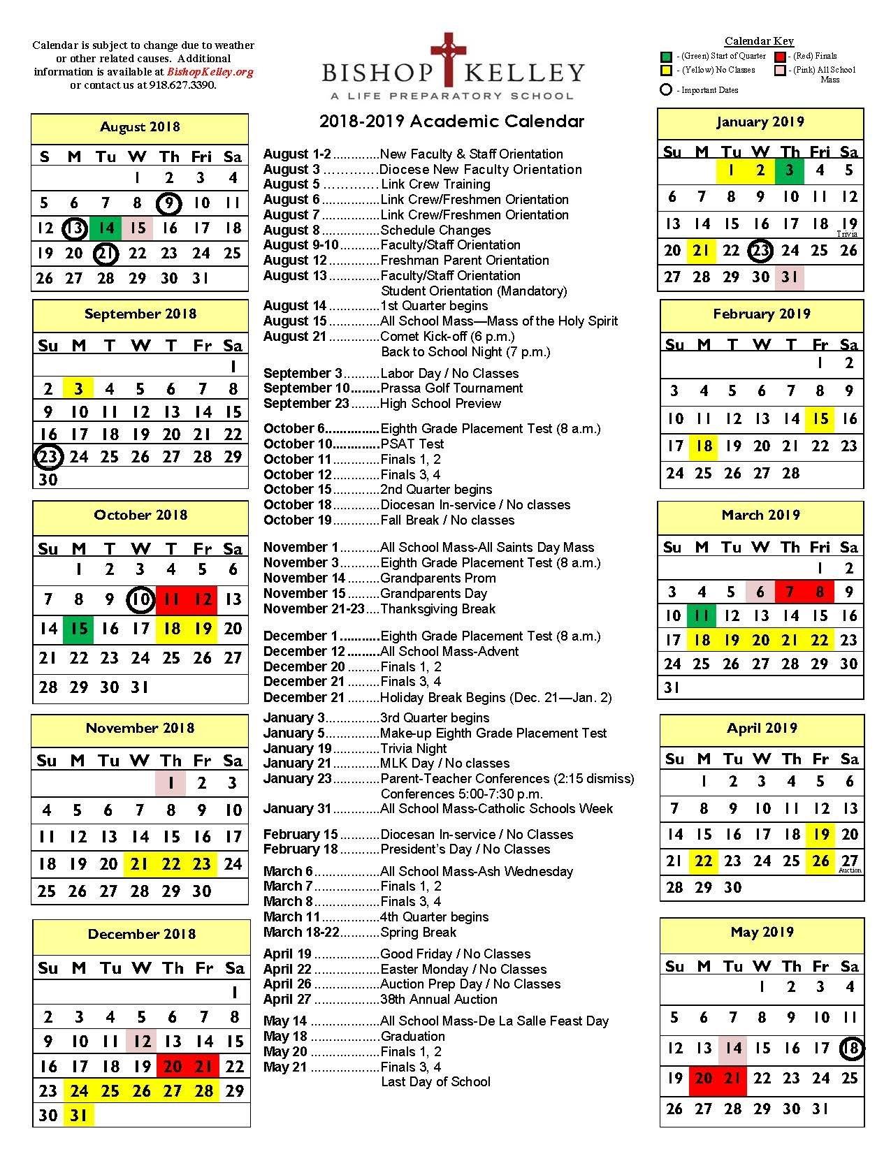 Academic Calendar | Bishop Kelley 3 Corps Calendar 2019