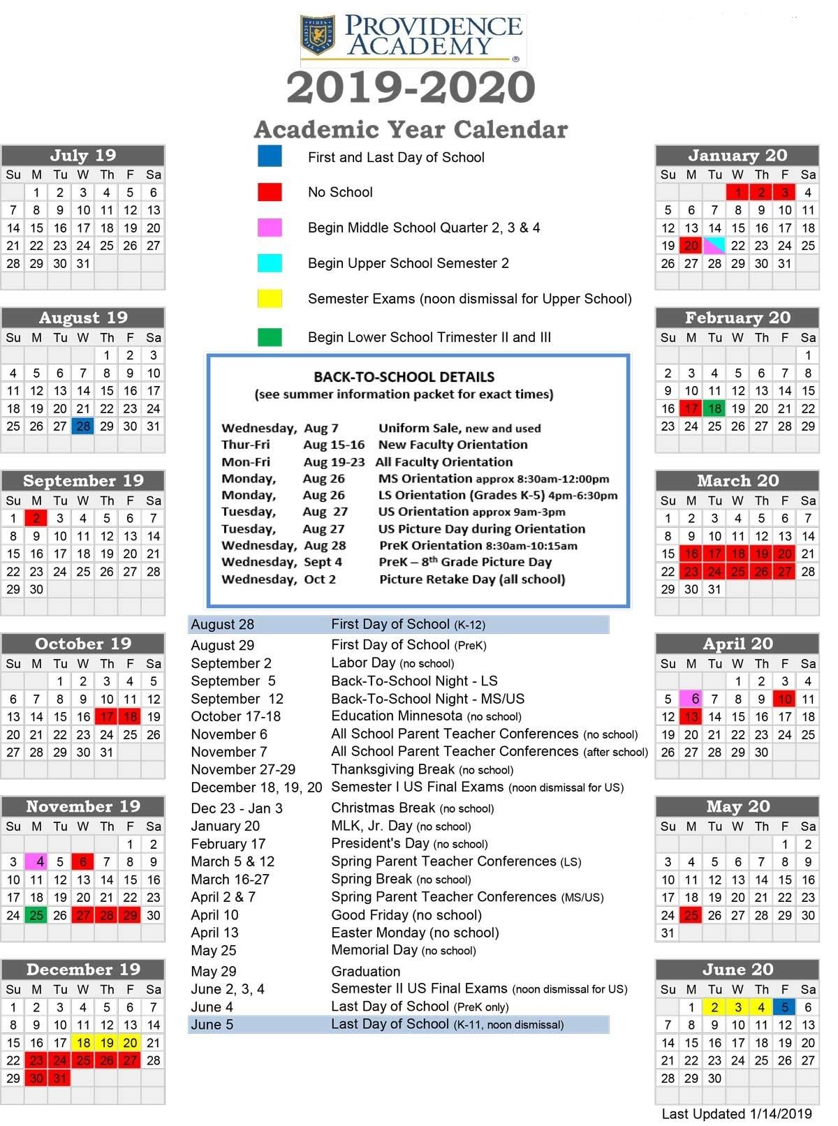 Academic Calendar - Providence Academy U Of Mn Calendar 2019