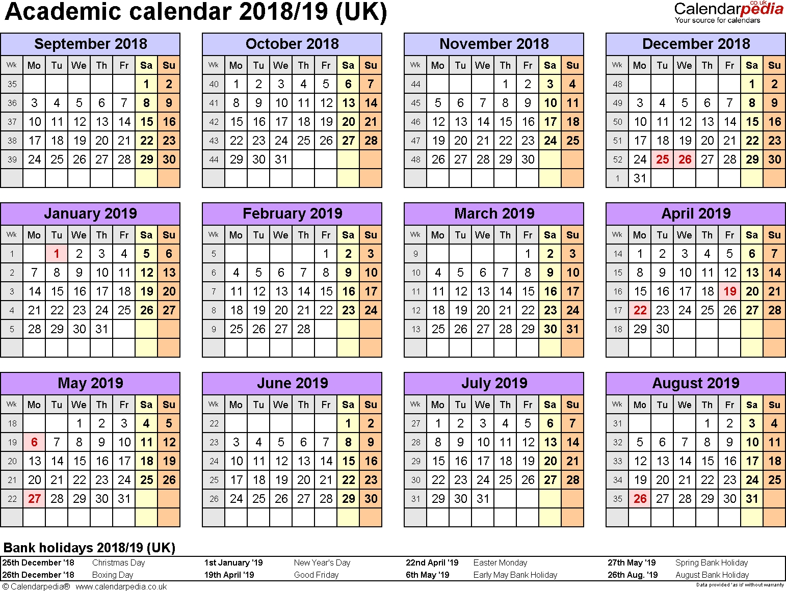 Academic Calendars 2018/2019 As Free Printable Word Templates Calendar 2019-19