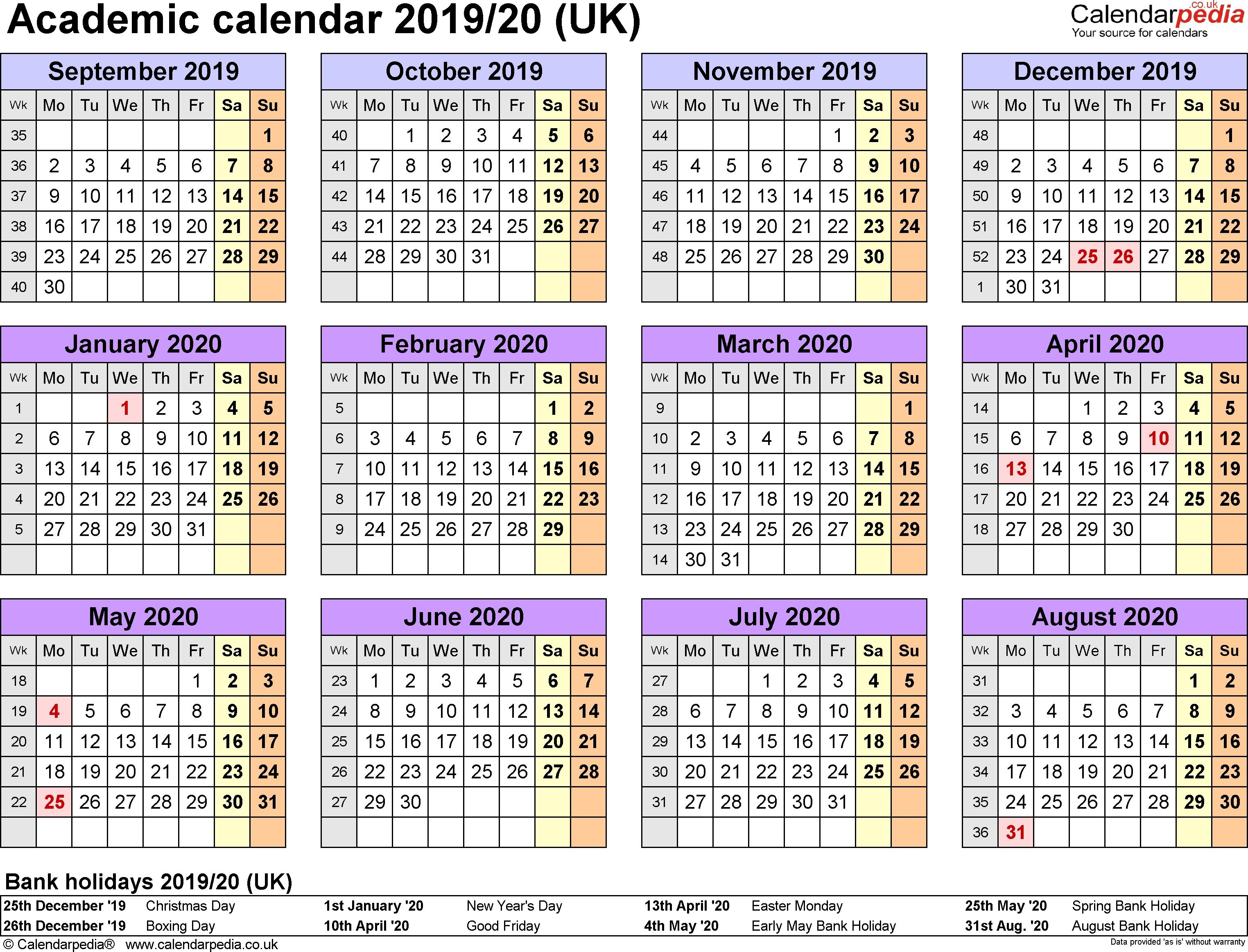 Academic Calendars 2019/2020 As Free Printable Excel Templates 3 Term Calendar 2019