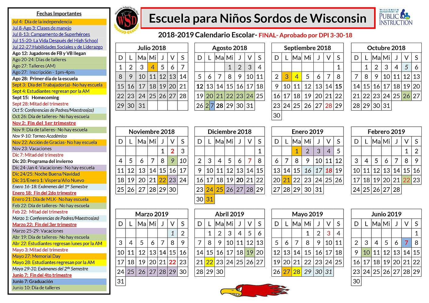 Academics: Academic Calendar J 2019 Calendar
