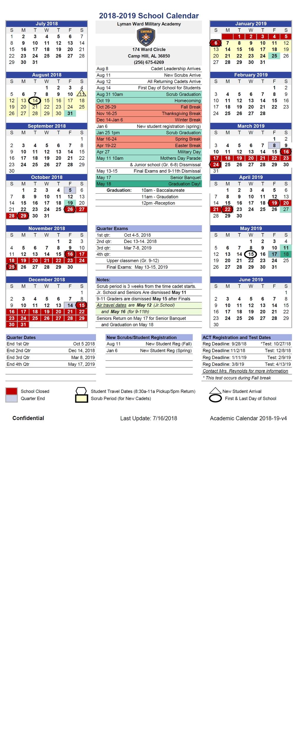 Academics Calendar (Pdf) — Lyman Ward Military Academy 3 Corps Calendar 2019