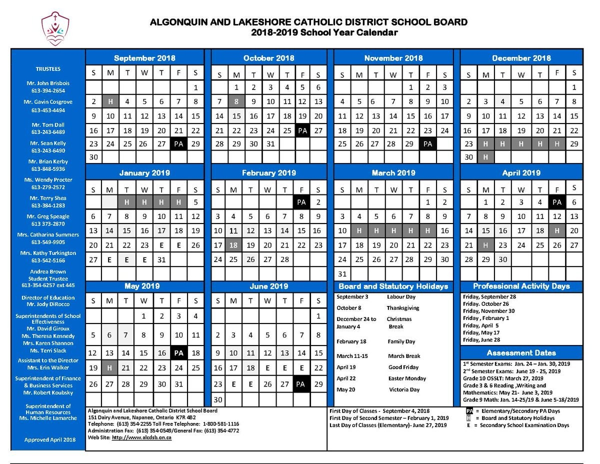 "Alcdsb On Twitter: ""mark Your Calendars! Here's The 2018/2019 445 Calendar 2019"
