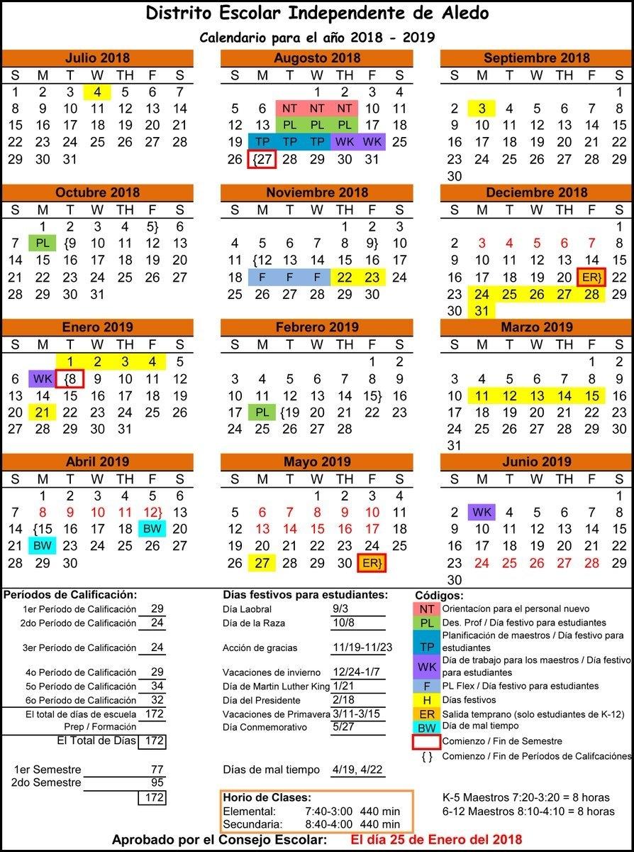 "Aledo Isd On Twitter: ""last Night, The School Board Also Approved Calendar 2019 Spring Break"
