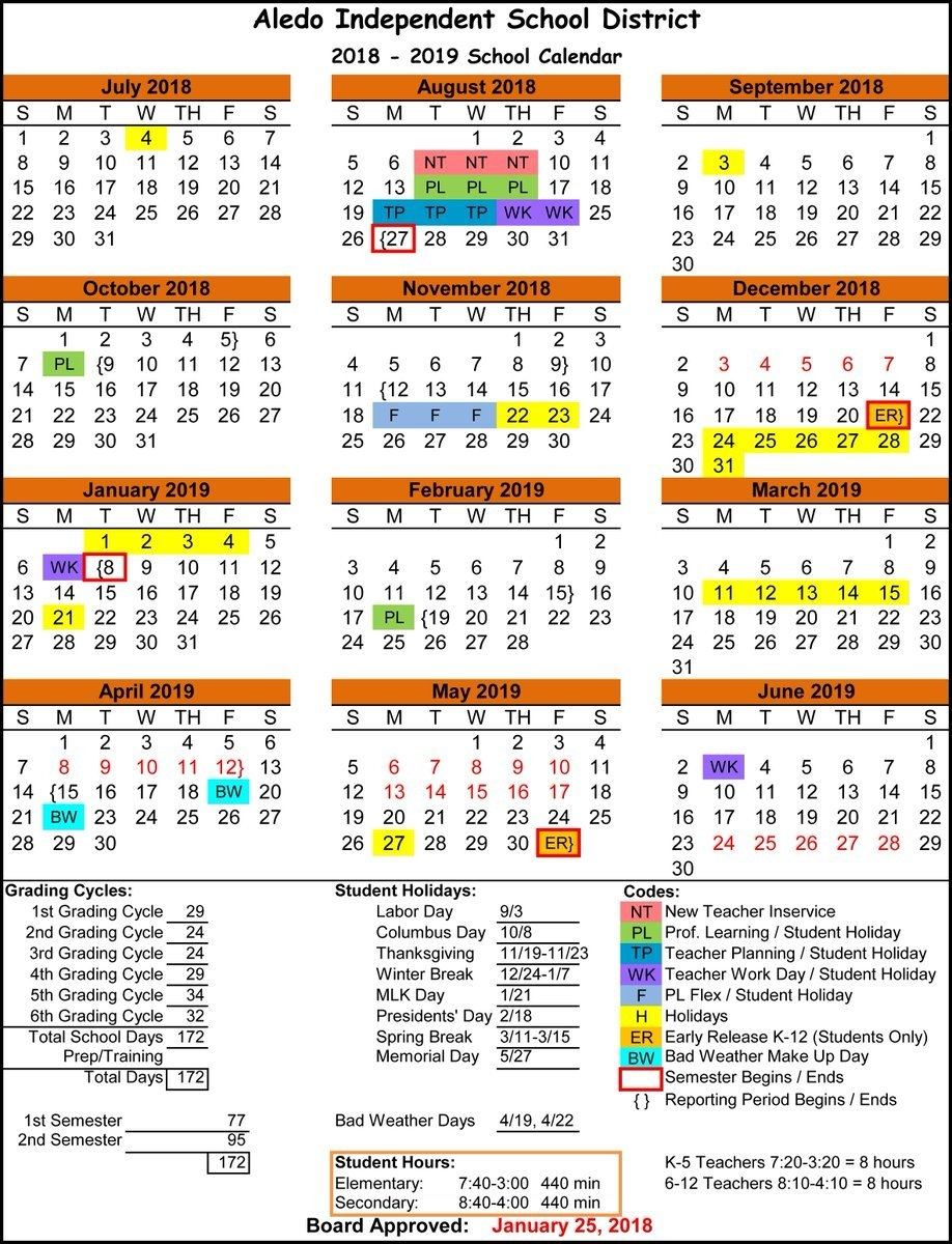 "Aledo Isd On Twitter: ""last Night, The School Board Also Approved Calendar 2019 Spring Break"