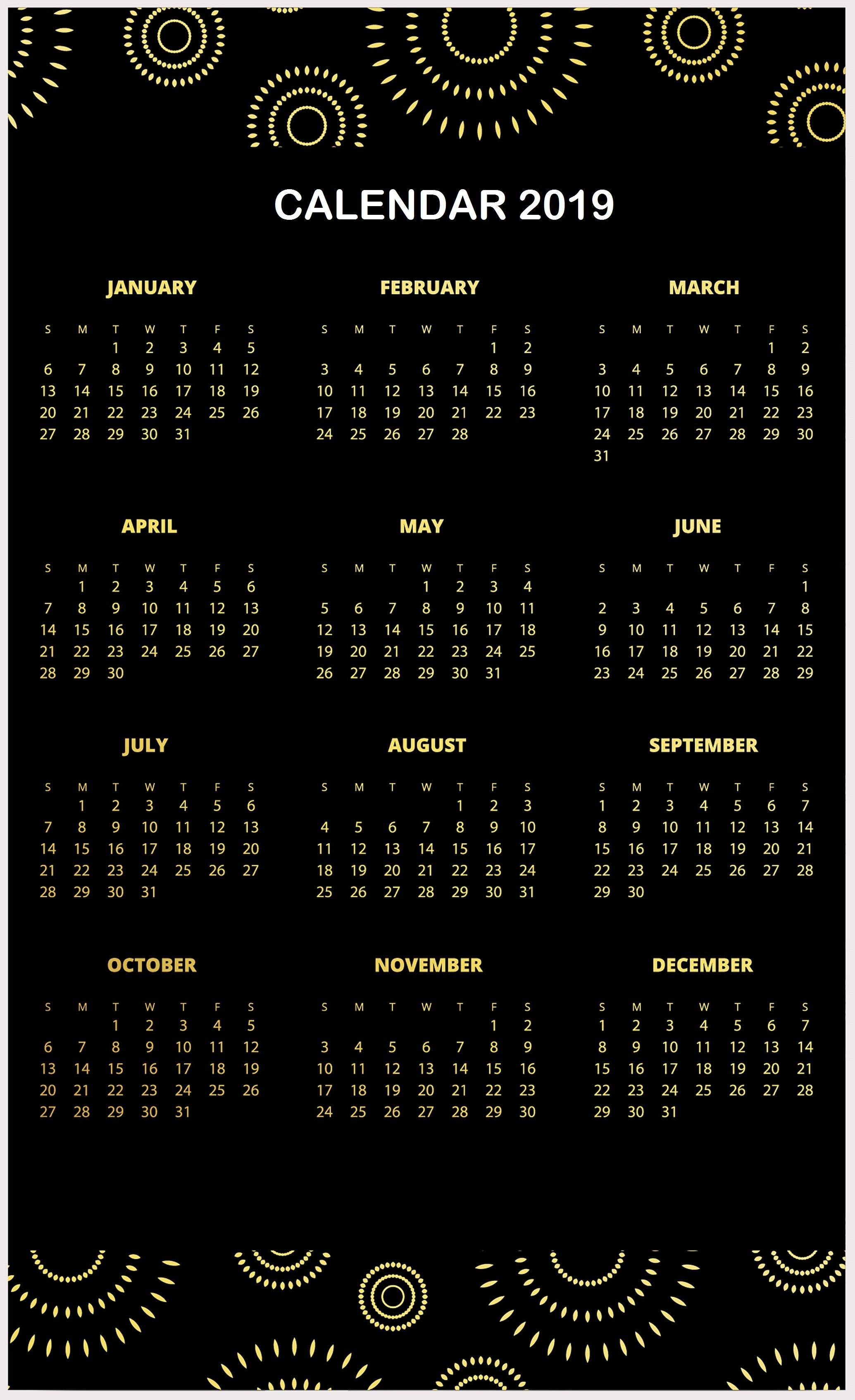Amazing 2019 Calendar Template One Page Design Layouts | Calendar Calendar 2019 Layout