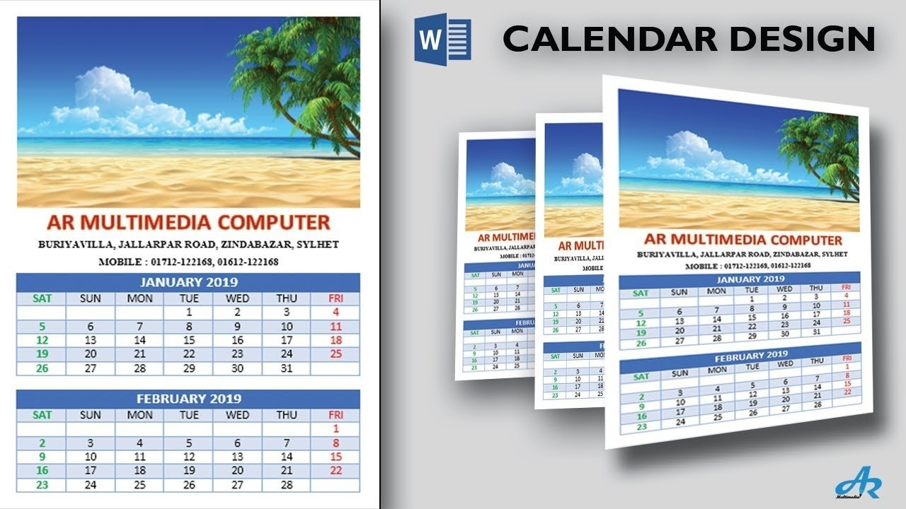 Amazing Calendars 2019 In Microsoft Word 2017 Tutorialcreate Calendar 2019 With Pictures