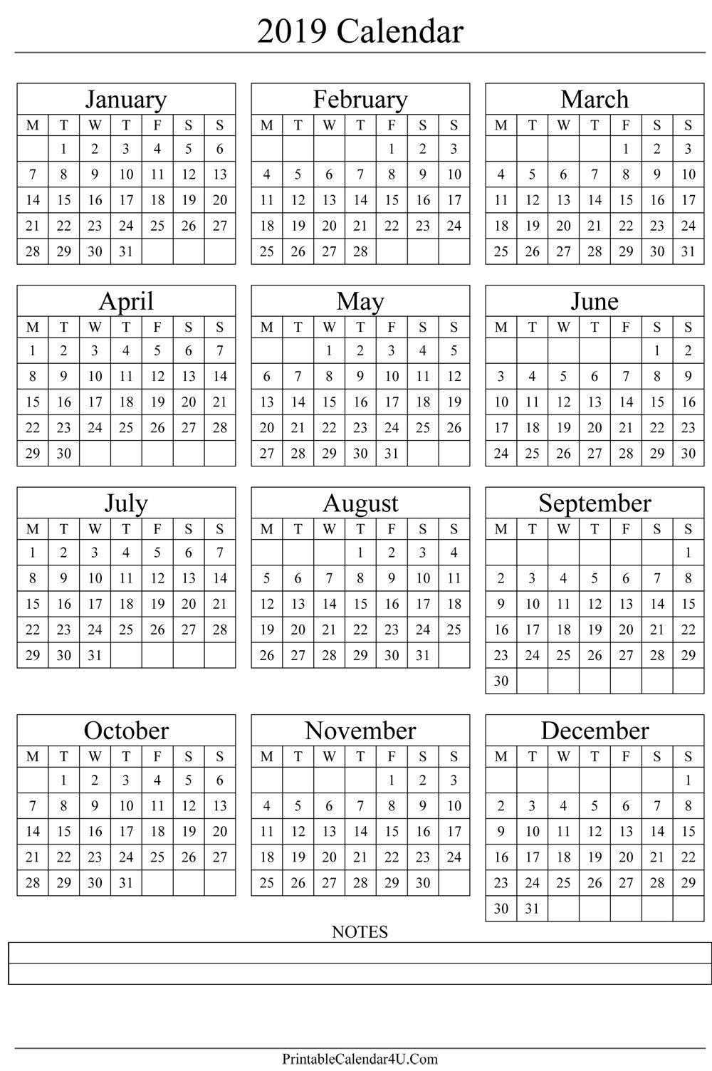 Annual Calendar 2019 Portrait Printable Calendar 2017 2018 2019 1 Year Calendar 2019