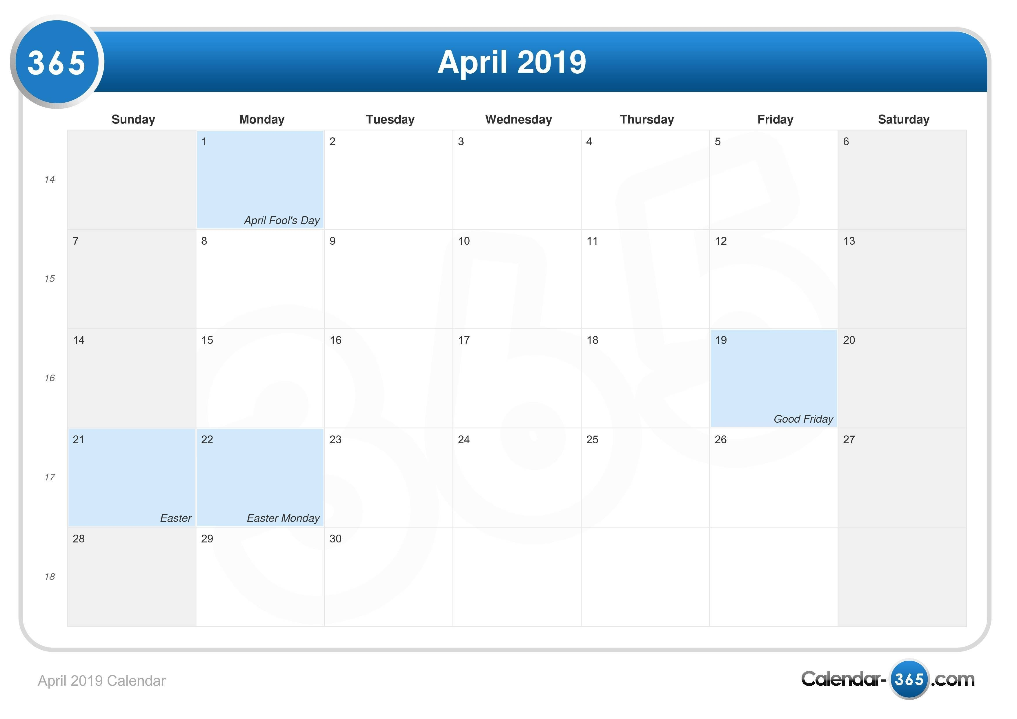 April 2019 Calendar Calendar April 6 2019