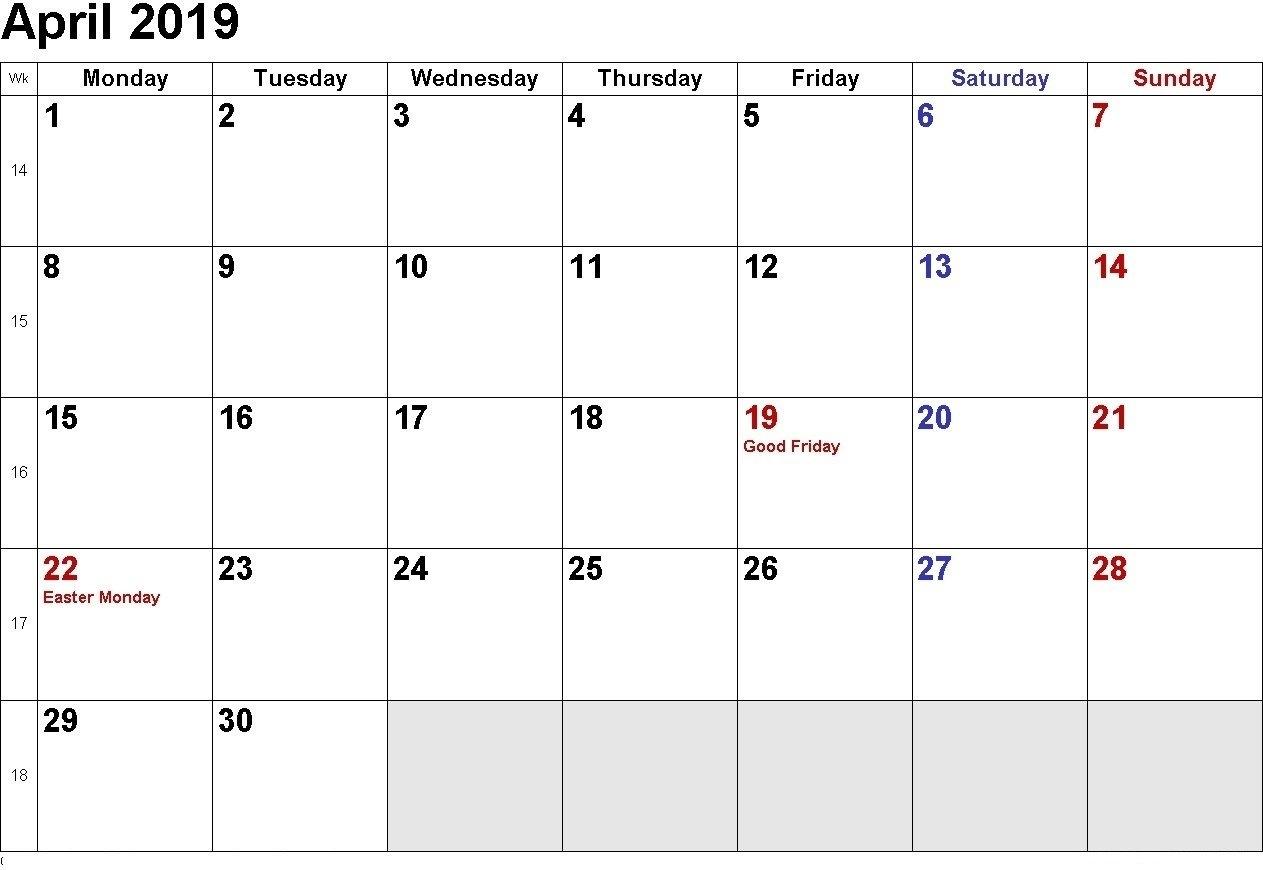 April 2019 Calendar | Download April Calendar, April 2019 Printable Calendar 2019 Download Word