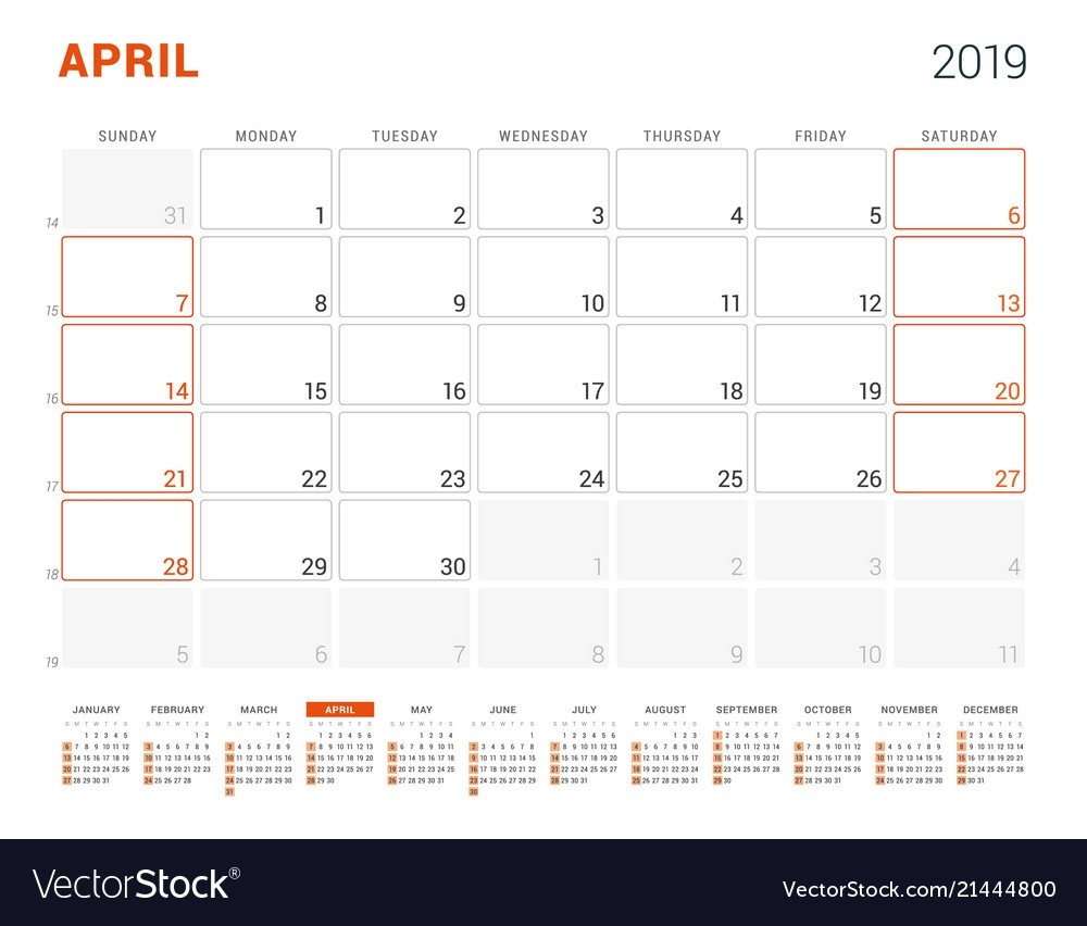 April 2019 Calendar Planner For 2019 Year Design Vector Image April 4 2019 Calendar