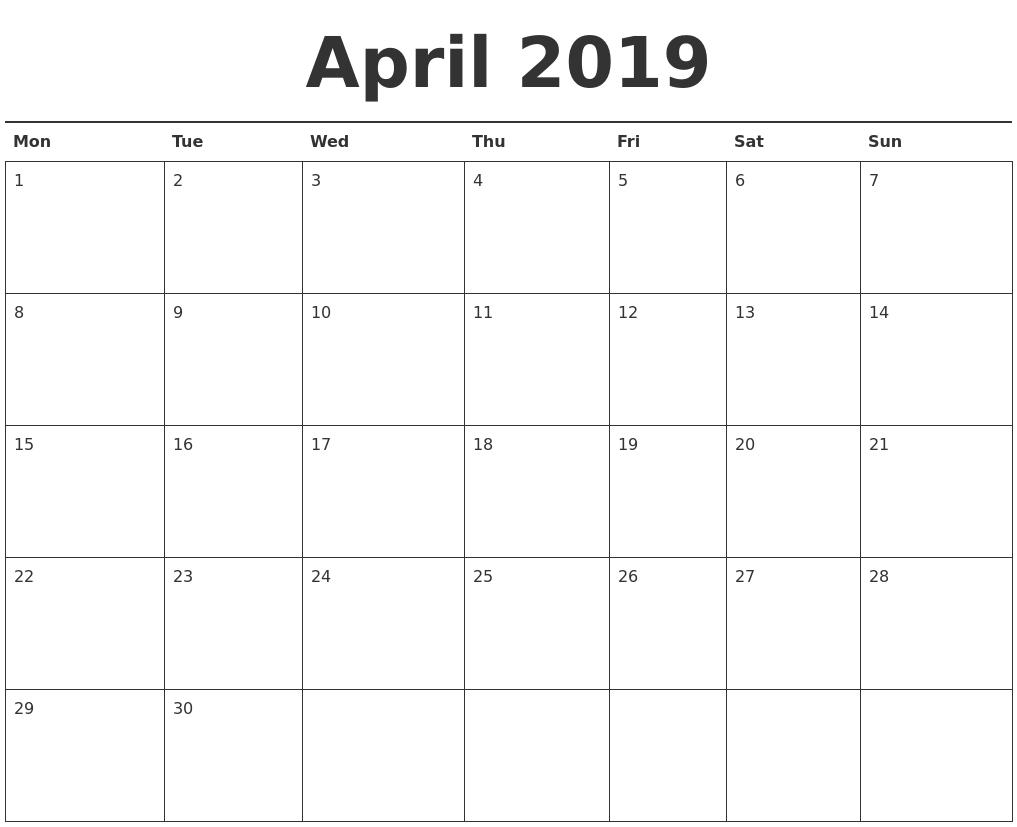 April 2019 Calendar Printable Calendar 2019 Agenda
