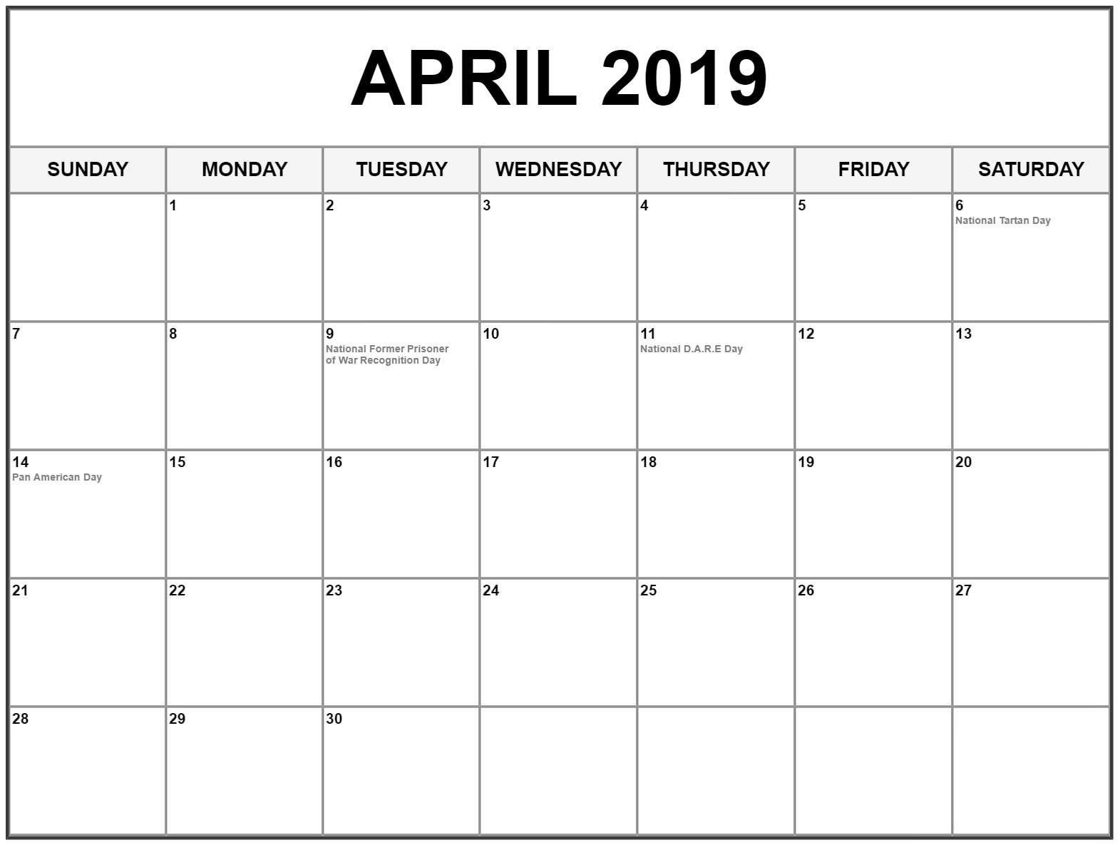 April 2019 Calendar Printable Template - Free Printable Calendar Calendar Of 2019 April
