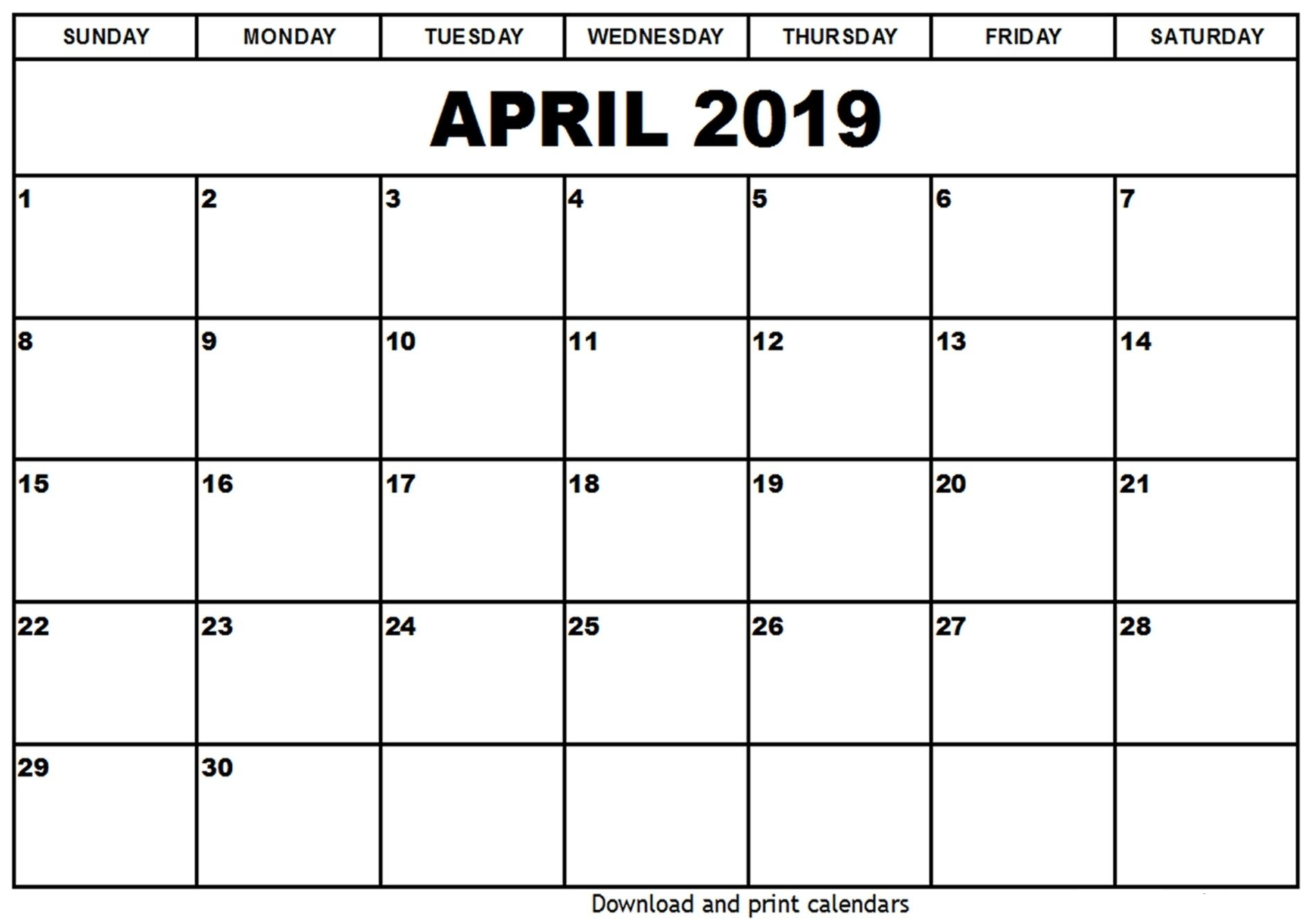 April 2019 Holiday Calendar Download – April 2019 Calendar Printable Download A Calendar 2019