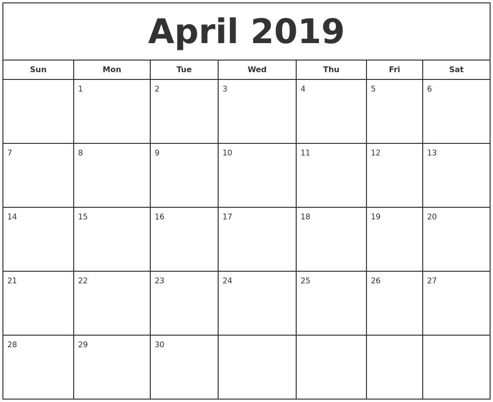 April 2019 Print Free Calendar Calendar 2019 Printable Free