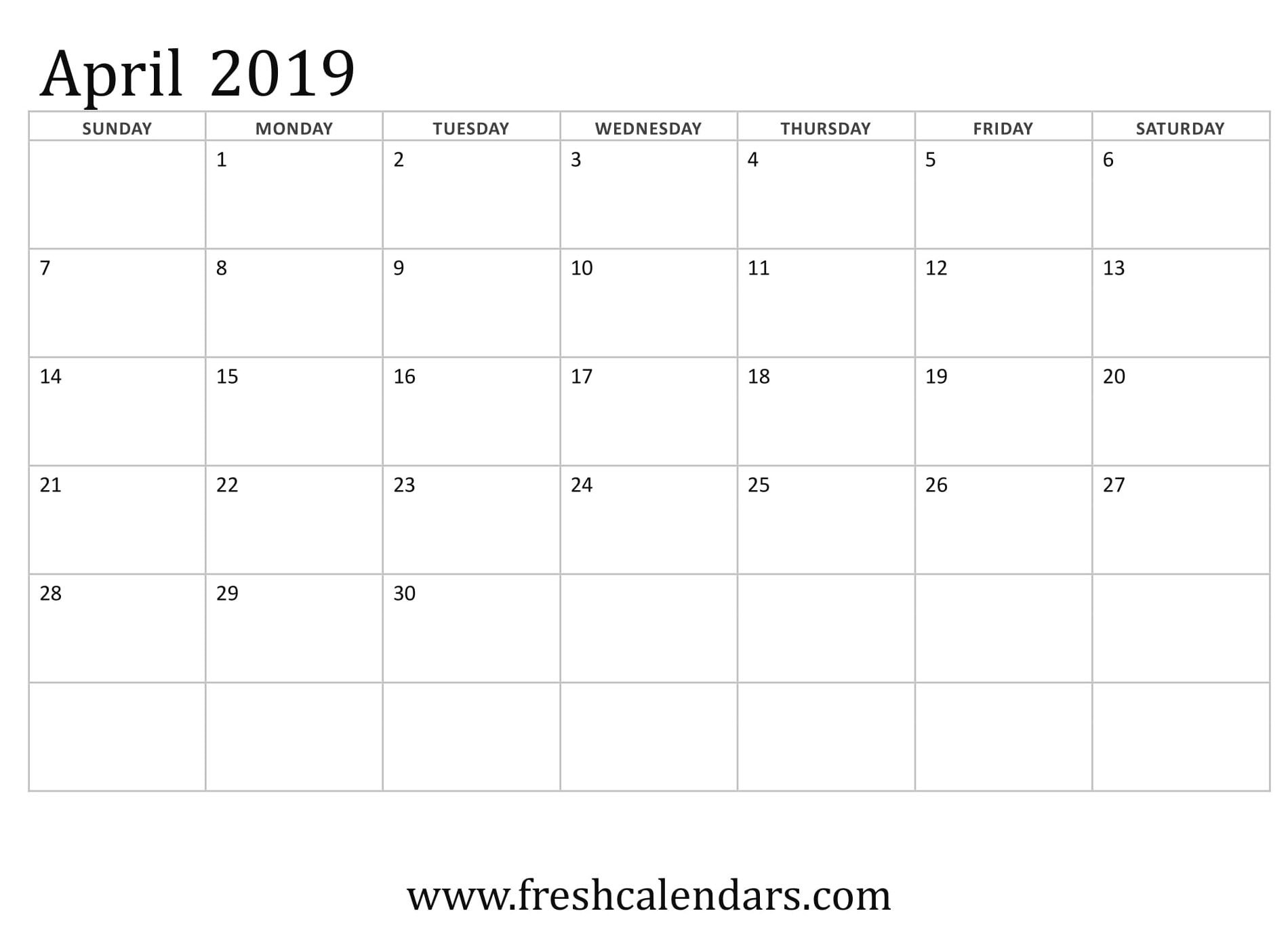 April 2019 Printable Calendars - Fresh Calendars Calendar Of 2019 April