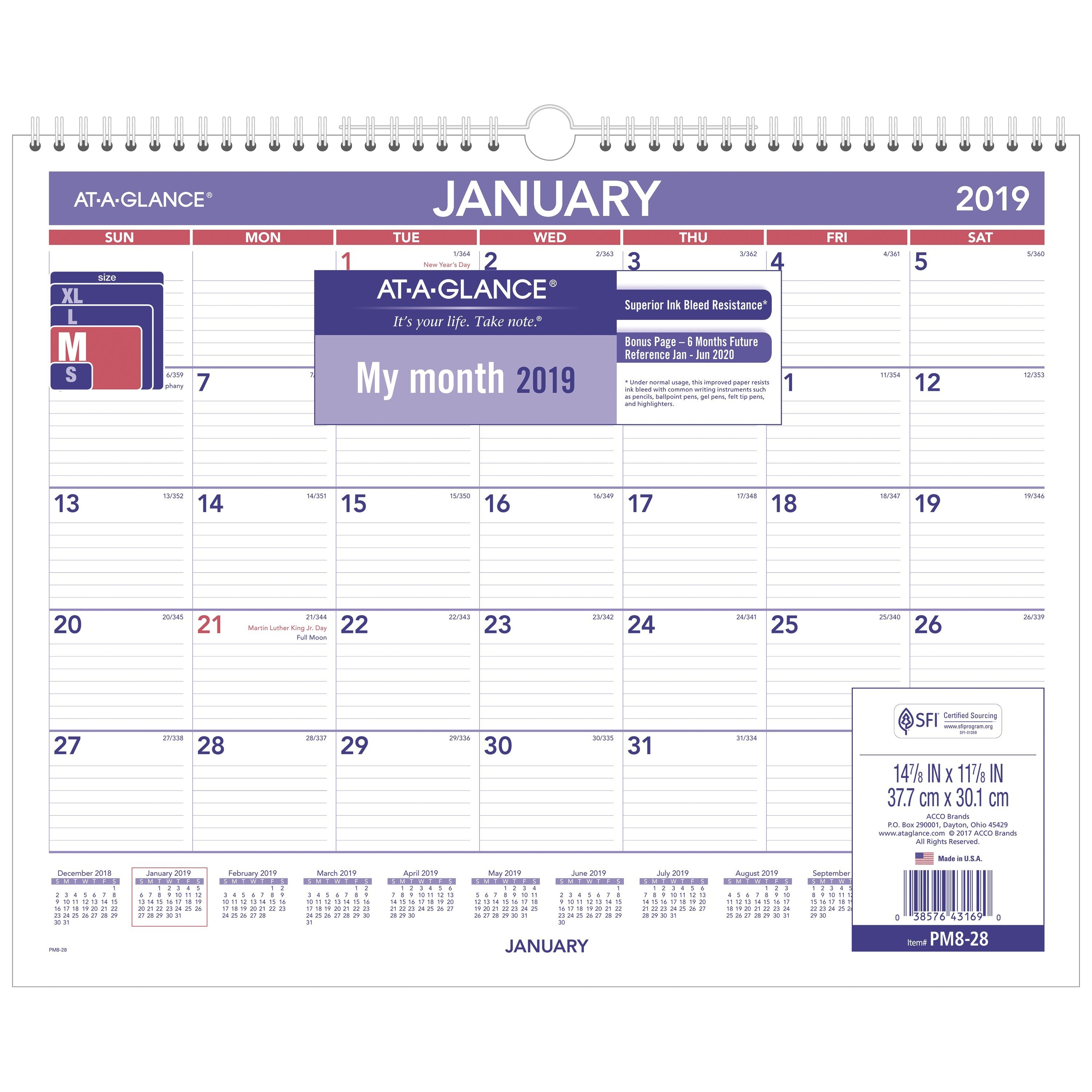 "At-A-Glance® 2019 Monthly Wall Calendar, 12 Months,15"" X 12"" (Pm828 At A Glance Calendar 2019"