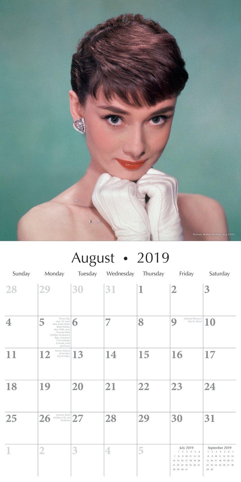 Audrey Hepburn - 2019 Wall Calendar 16 Month Premium Square 30X30Cm X Calendar 2019 Models