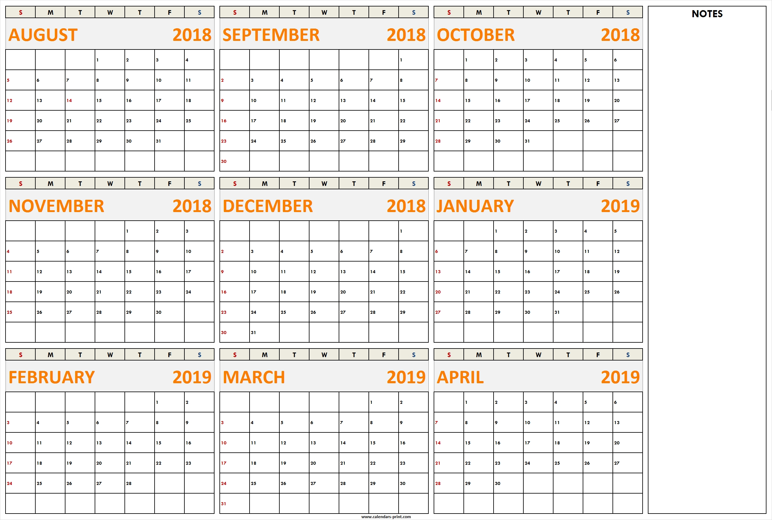 August 2018 To April 2019 Calendar Printable Template With Notes | Lines April 9 2019 Calendar