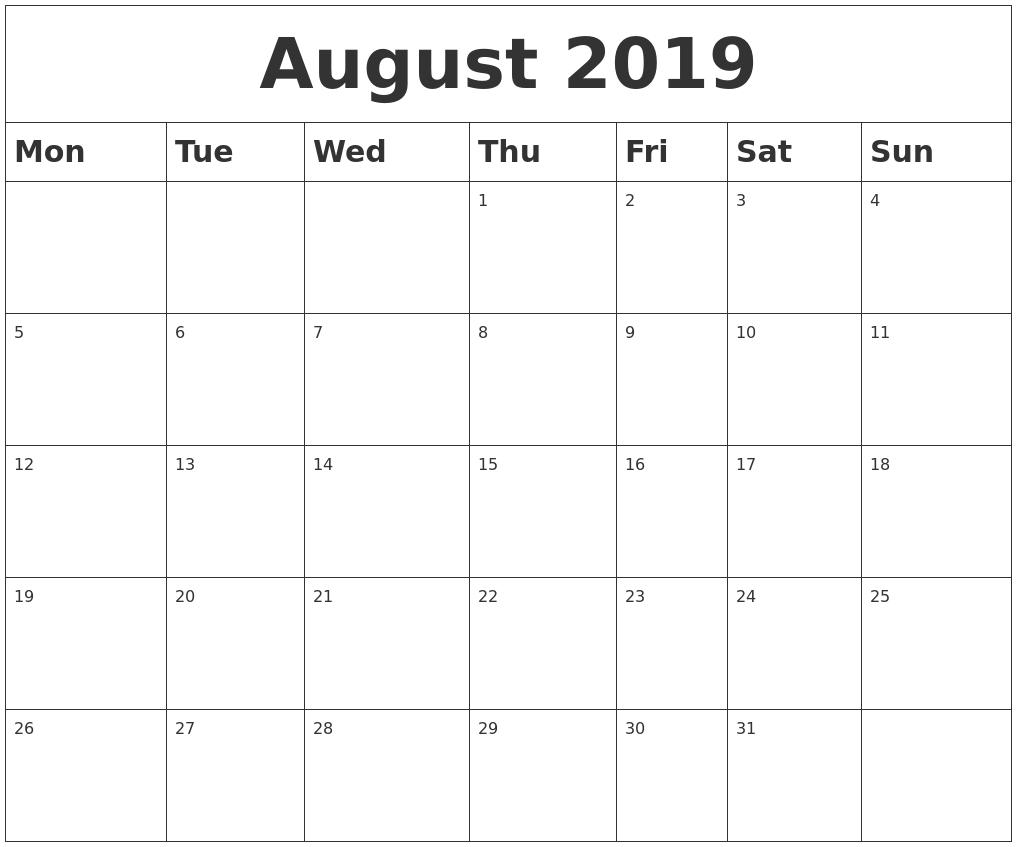 August 2019 Blank Calendar Calendar Of 2019 August