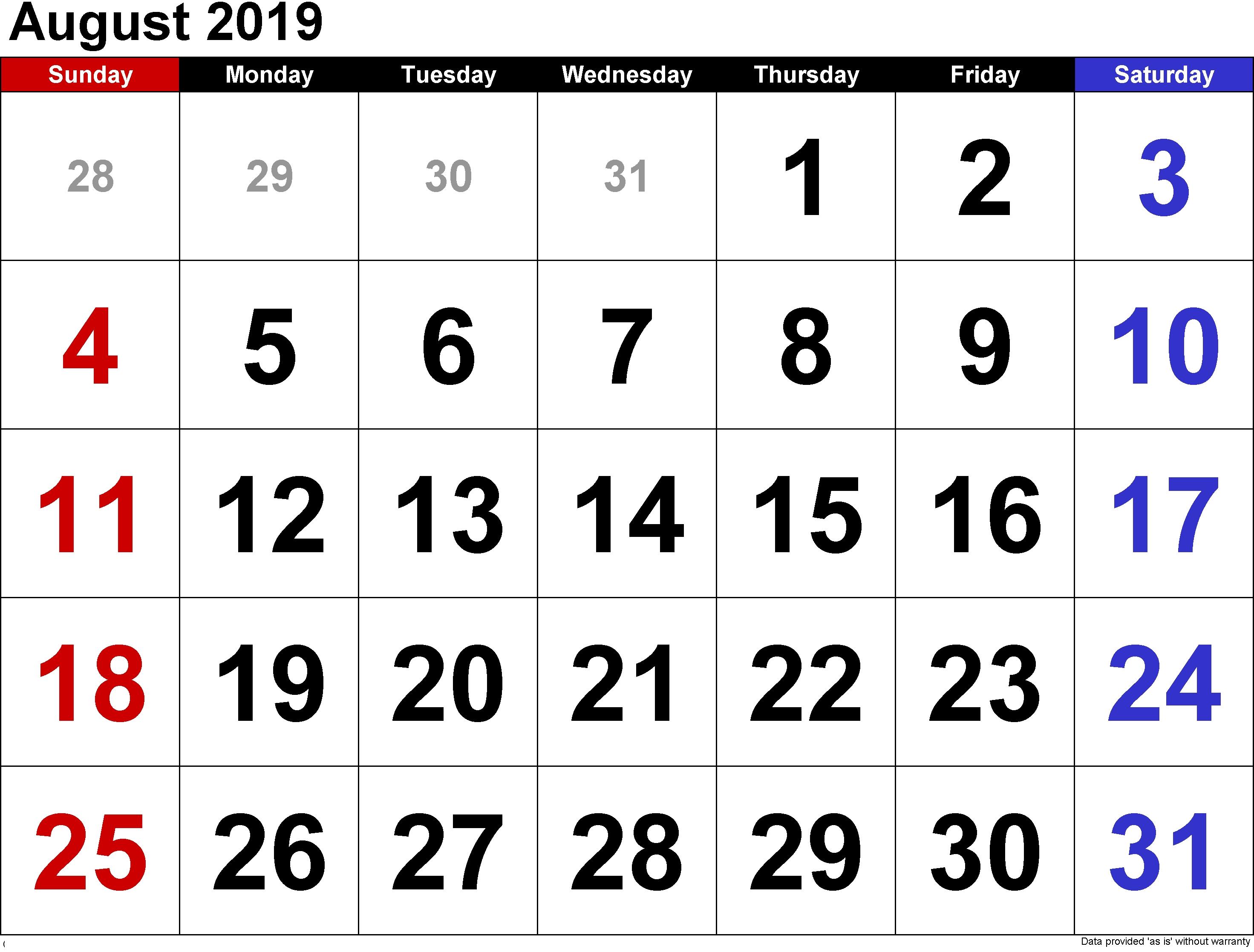 August 2019 Blank Holiday Calendar - Printable Calendar 2018-19 Calendar Of 2019 August