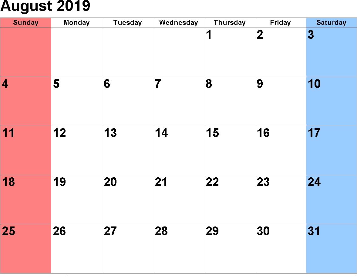 August 2019 Holiday Calendar | August 2019 Calendar Pdf, Excel, Word Calendar Of 2019 August