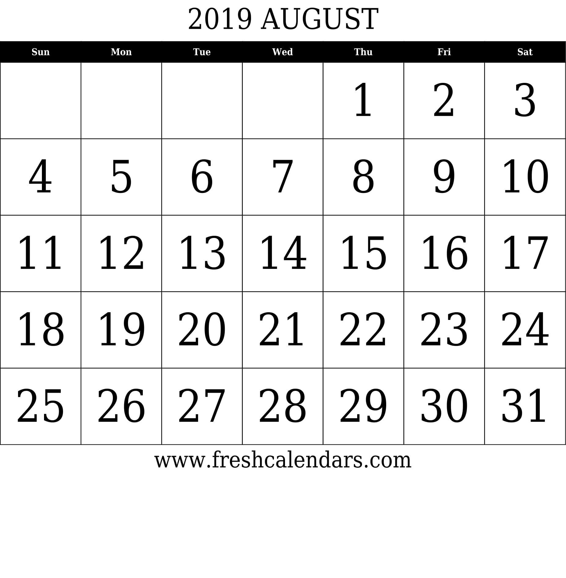 August 2019 Printable Calendars - Fresh Calendars 8 August 2019 Calendar
