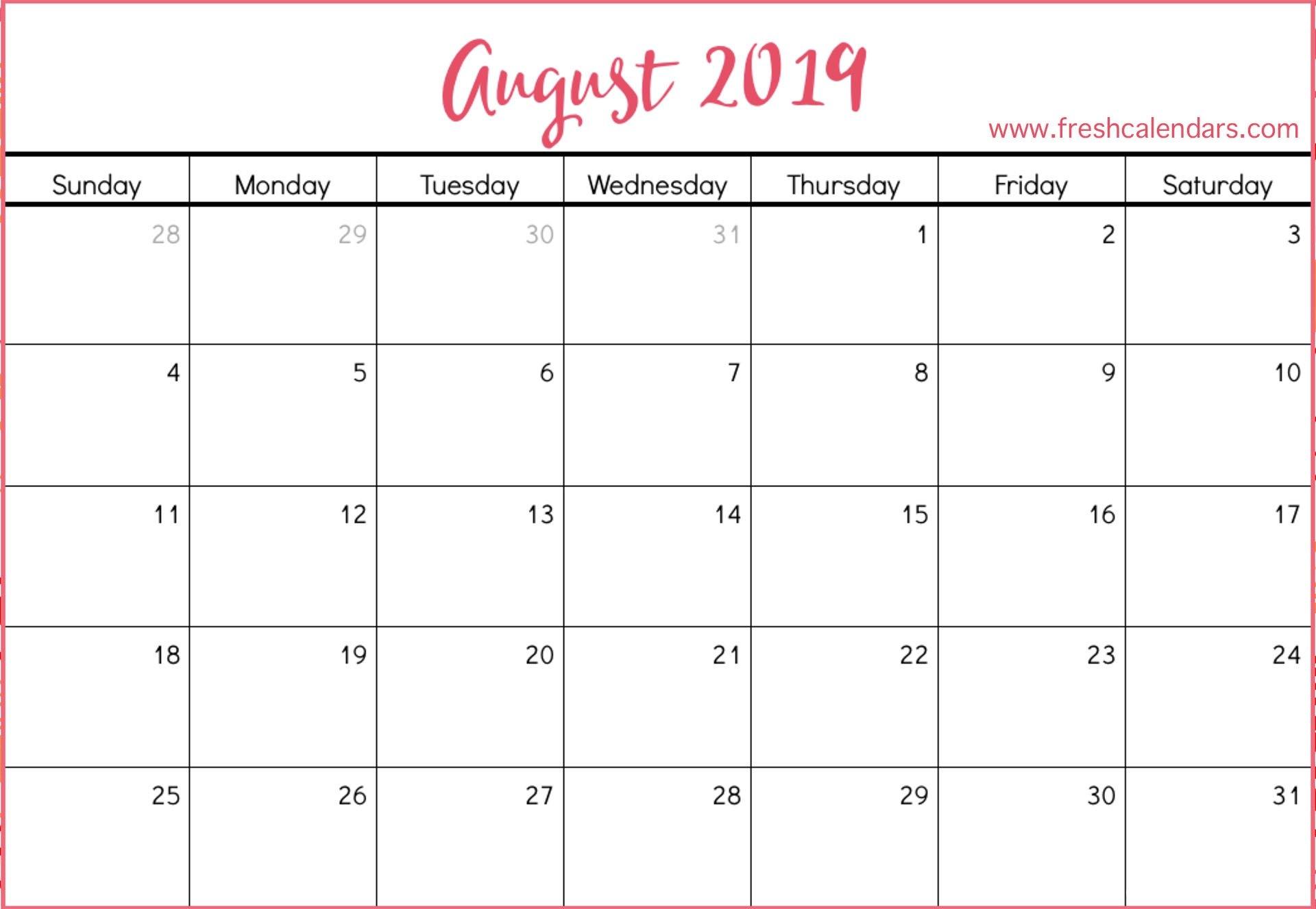 August 2019 Printable Calendars - Fresh Calendars Calendar Of 2019 August