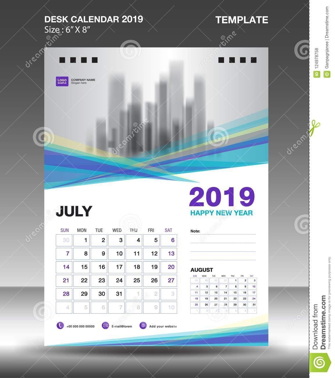 August - Desk Calendar 2019 Template, Flyer Design Vector, Blue Calendar 2019 Design