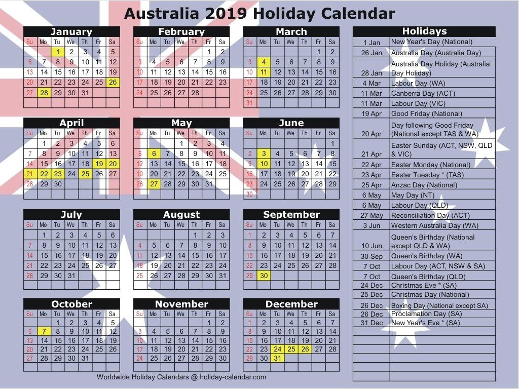 Australia 2019 / 2020 Holiday Calendar Calendar Year 2019 Australia